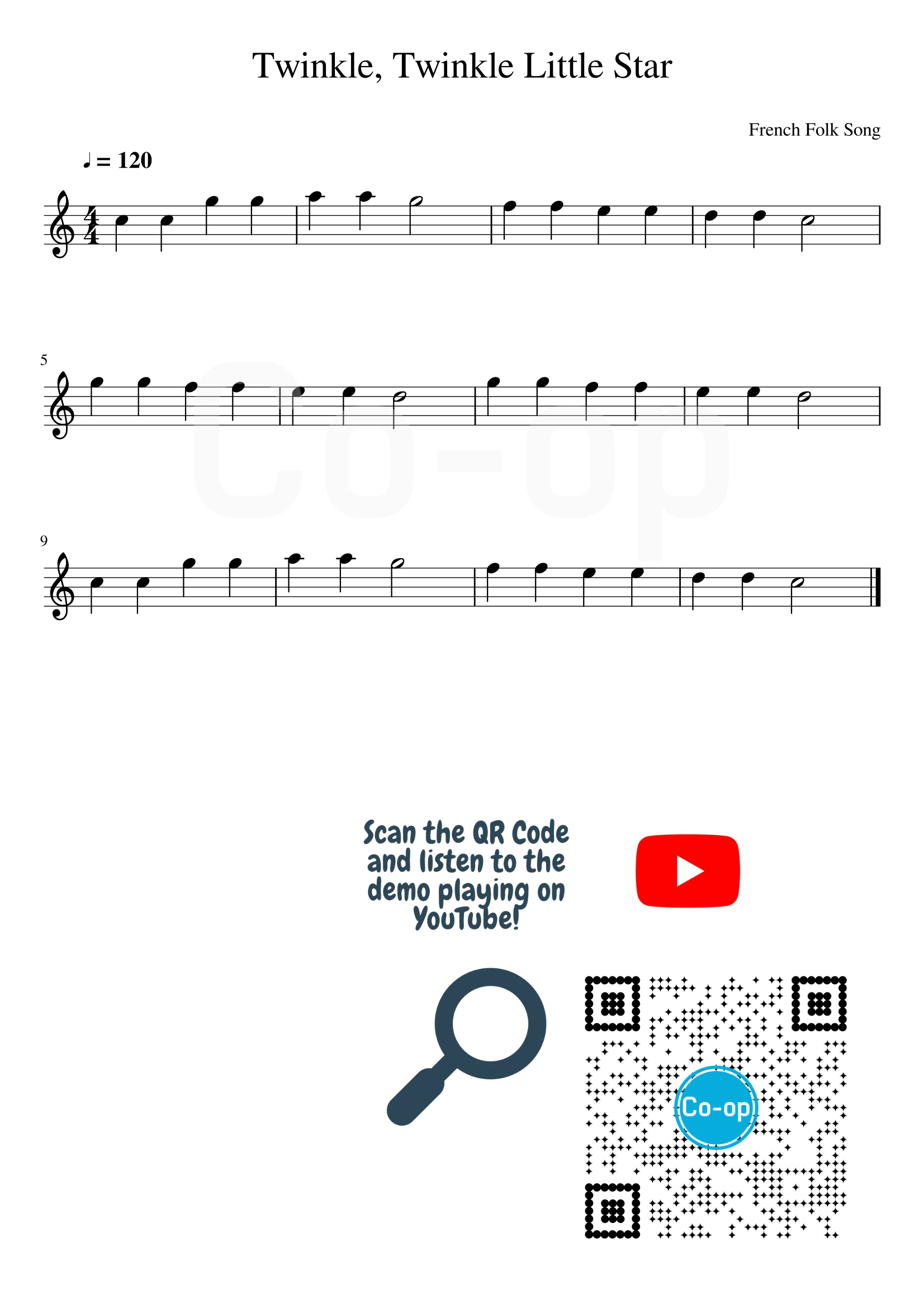 Twinkle Twinkle Little Star | Staff Notation | Free Sheet Music