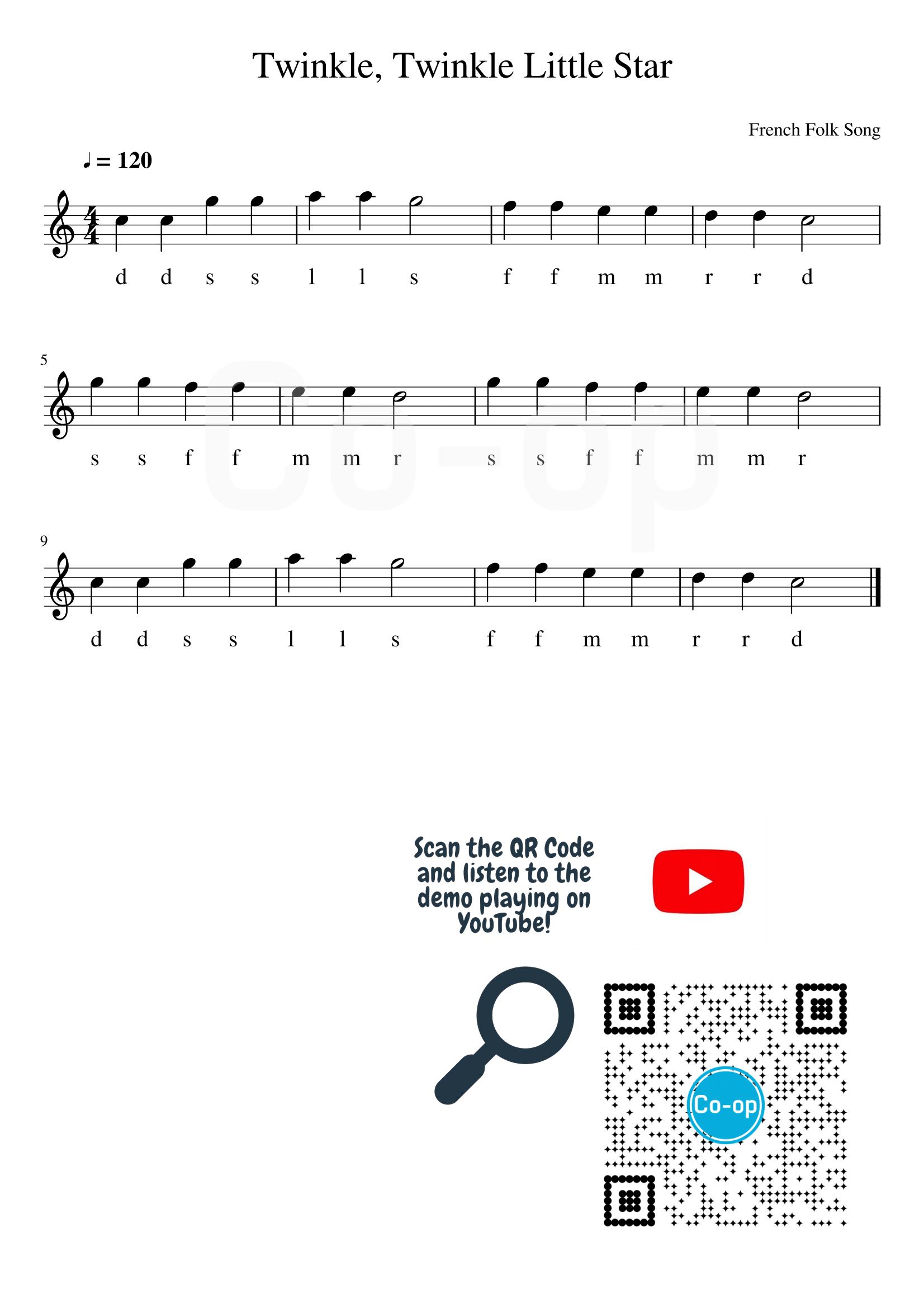 Twinkle Twinkle Little Star | Solfege Notation | Free Sheet Music