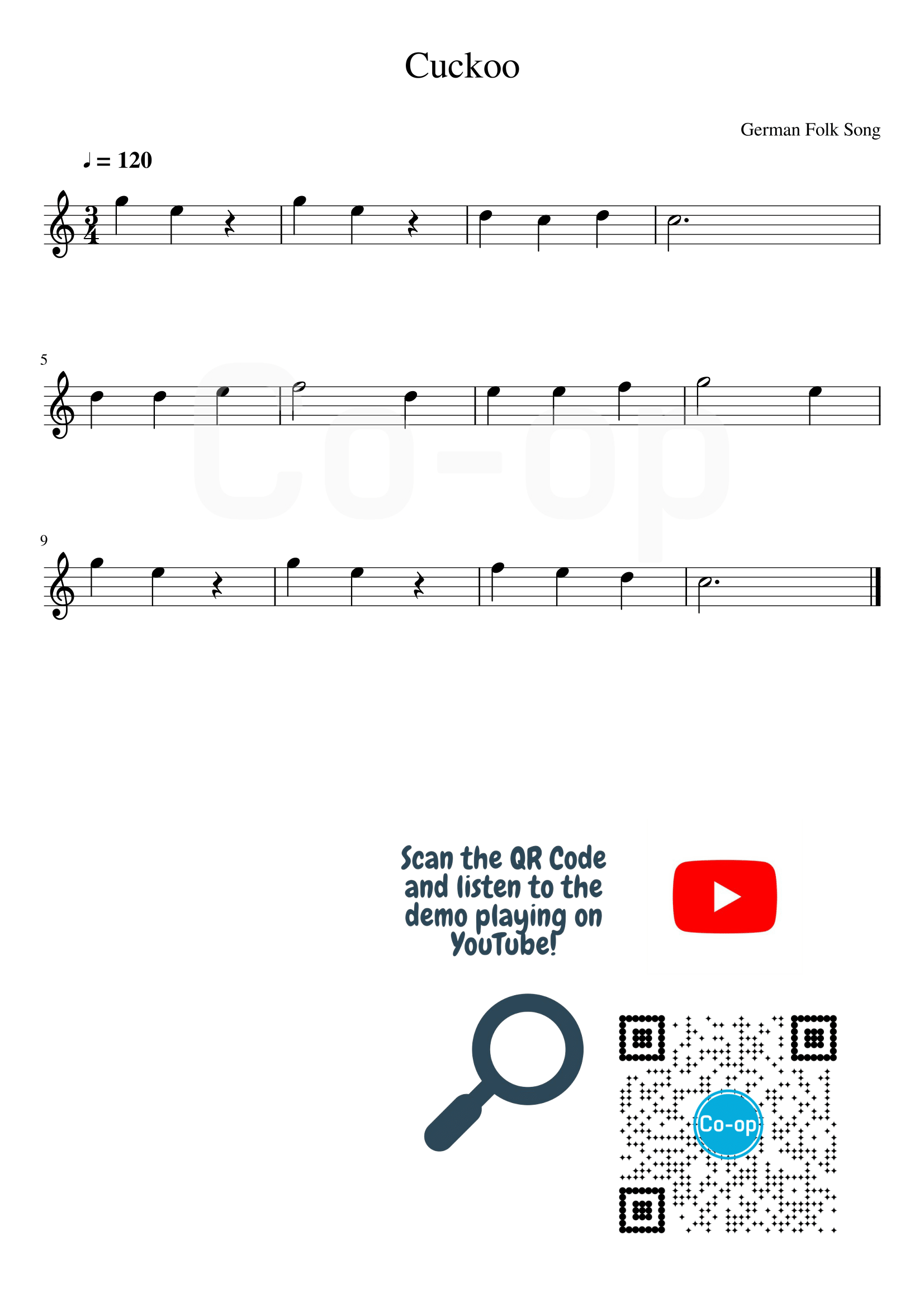Cuckoo | Staff Notation | Free Sheet Music