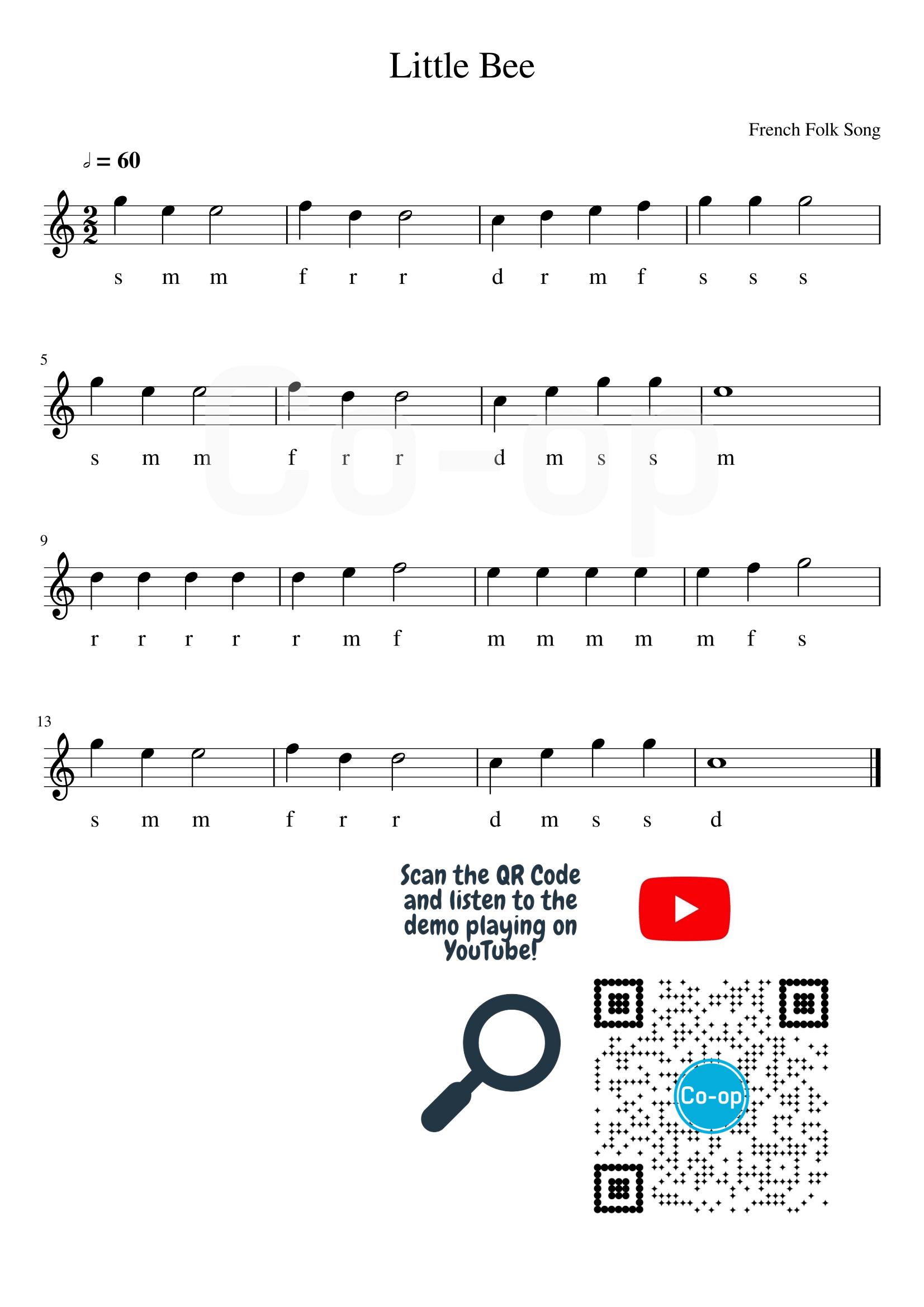 Little Bee | Solfege Notation | Free Sheet Music