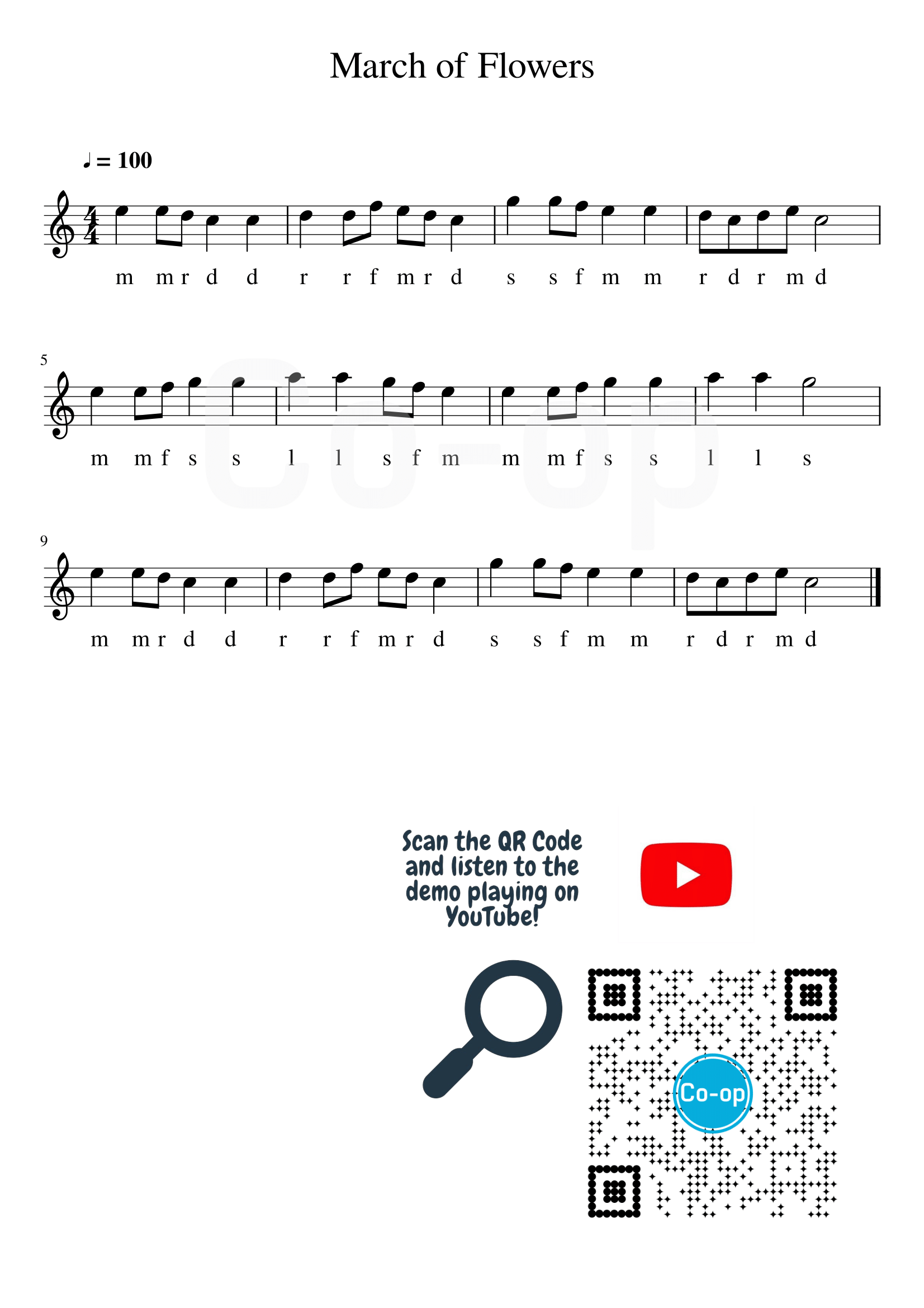 March of Flowers | Solfege Notation | Free Sheet Music