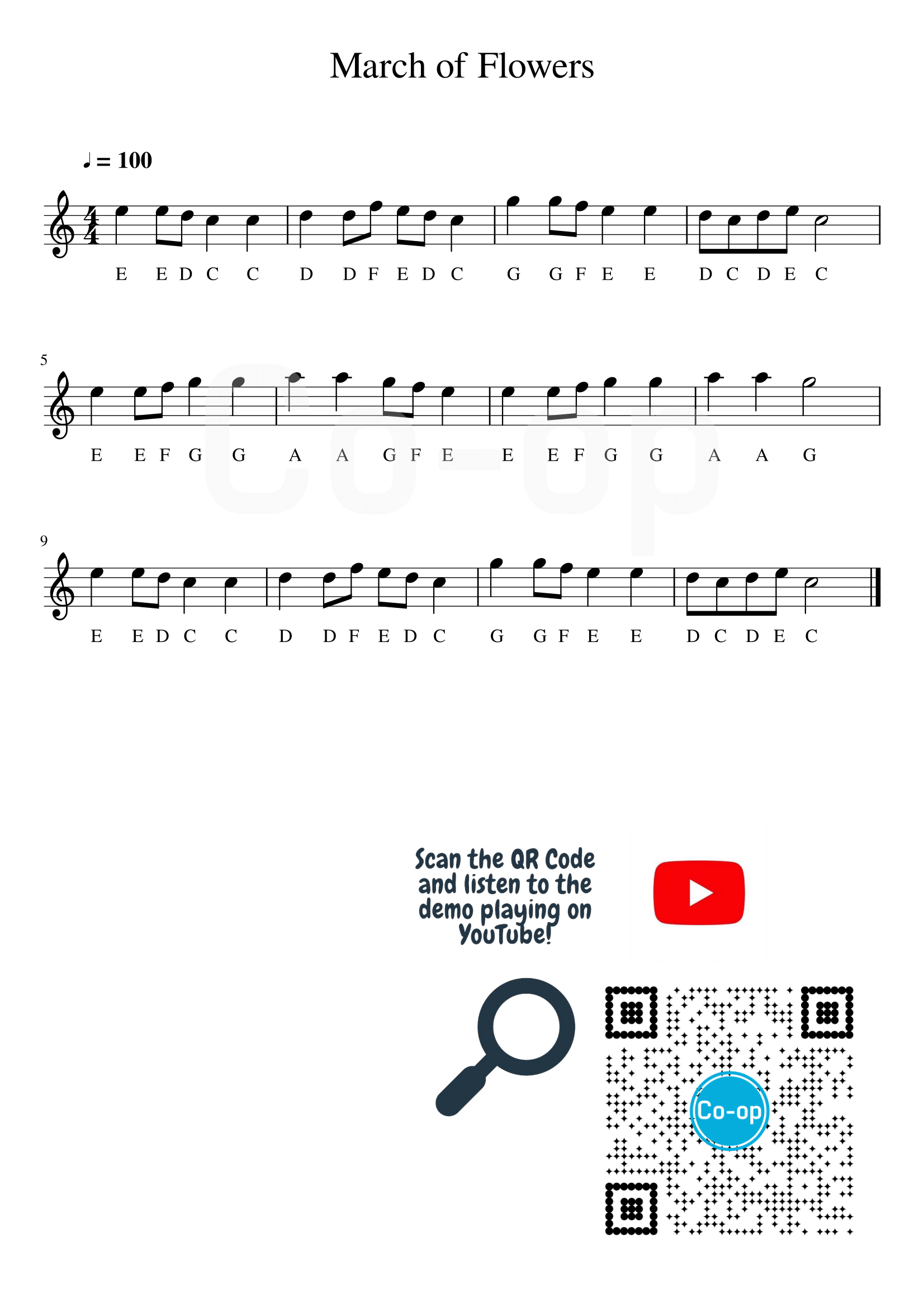 March of Flowers | Letter Notation | Free Sheet Music