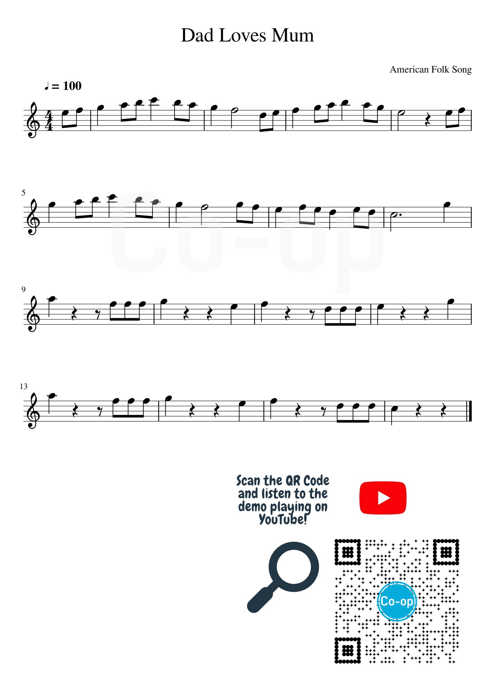 Dad Loves Mum | Staff Notation | Free Sheet Music