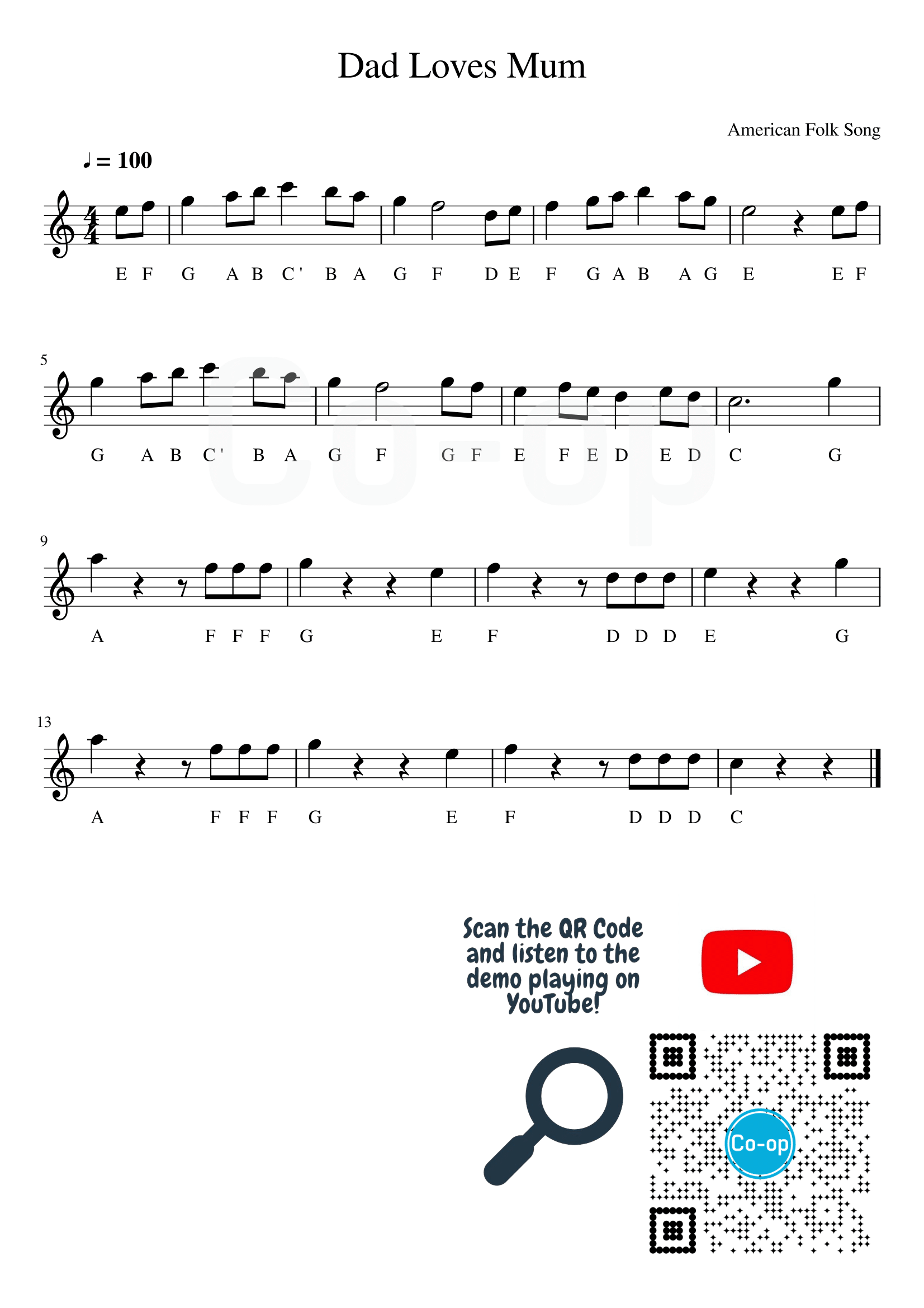 Dad Loves Mum | Letter Notation | Free Sheet Music