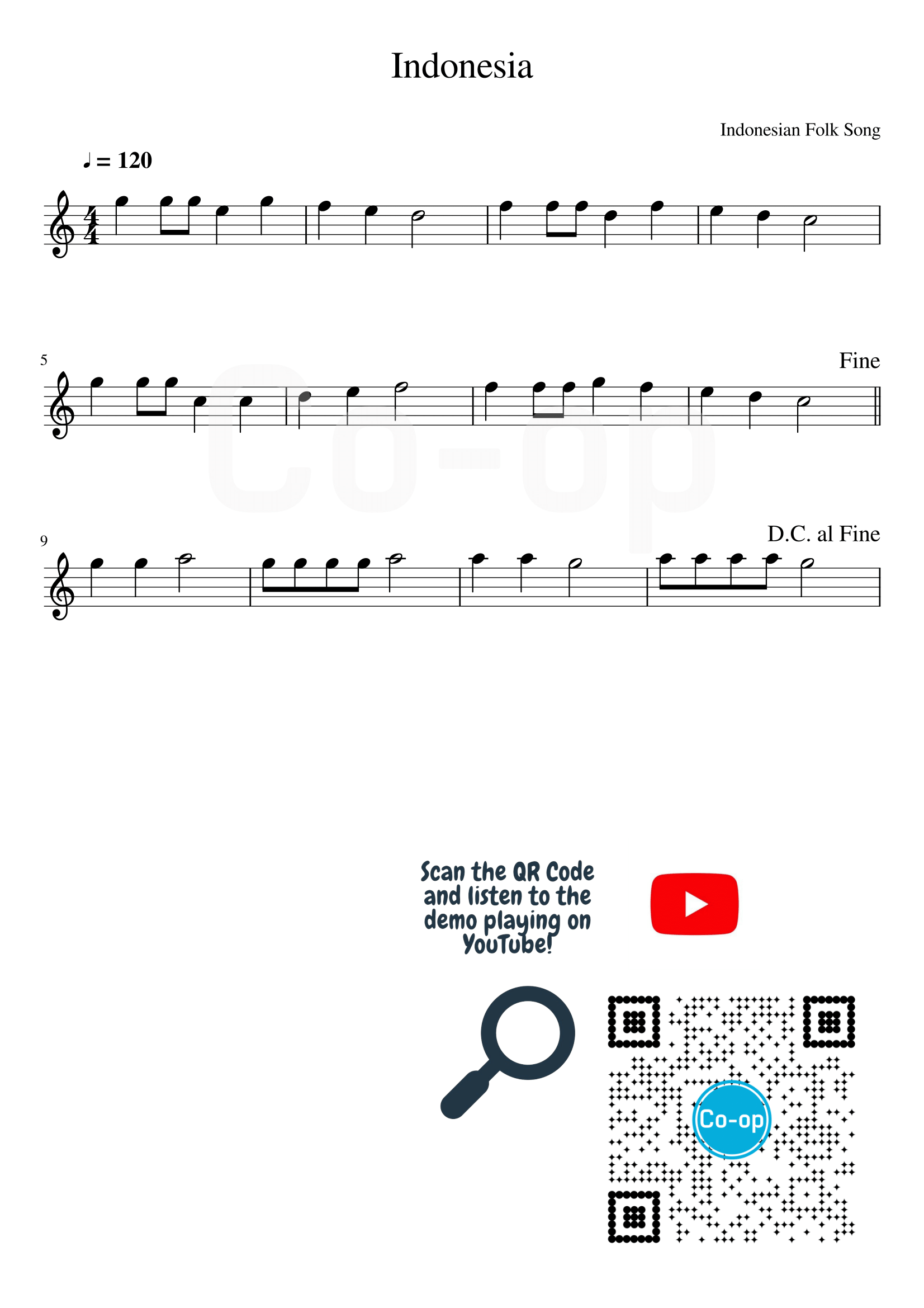 Indonesia | Staff Notation | Free Sheet Music