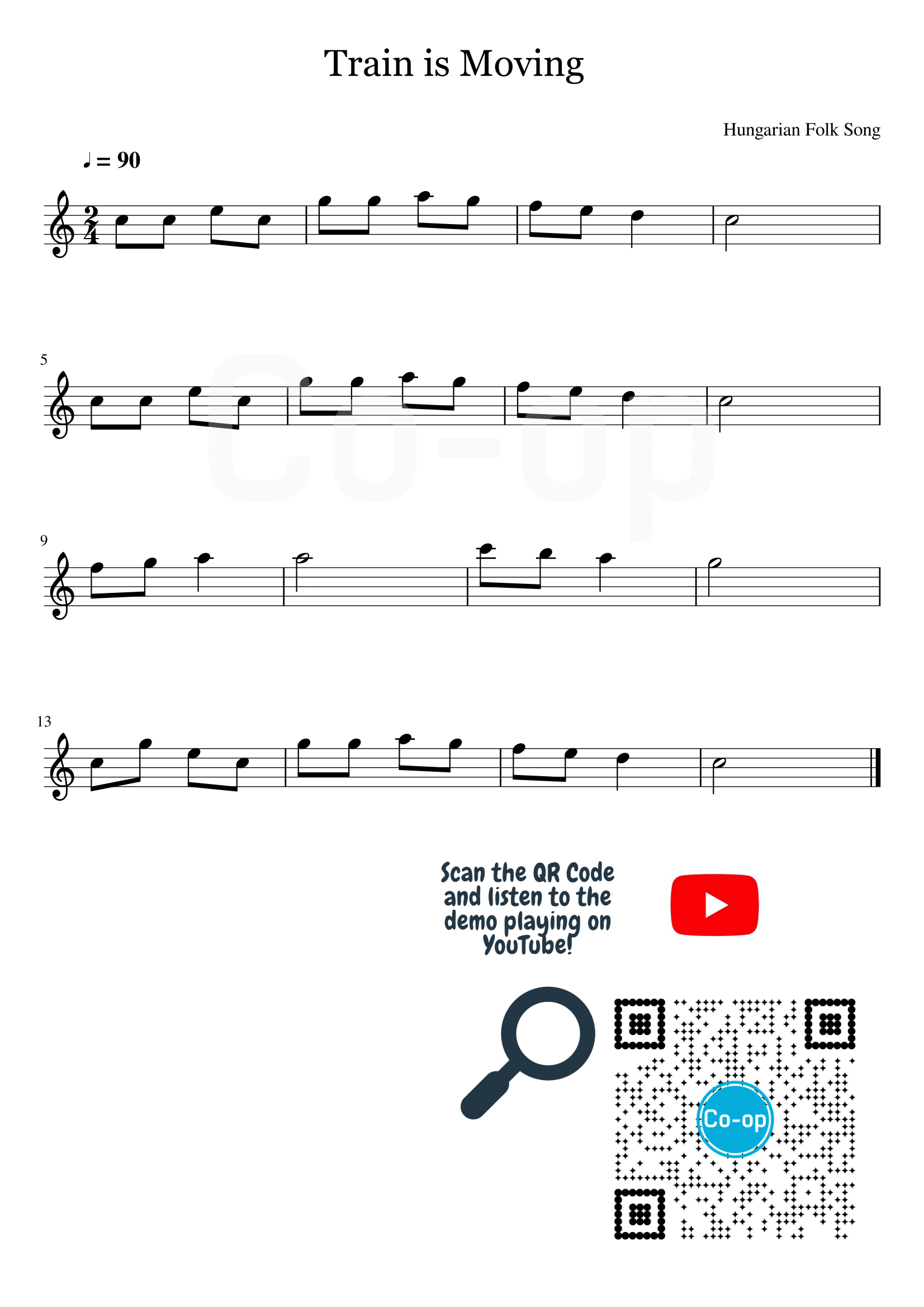 Train is Moving | Staff Notation | Free Sheet Music