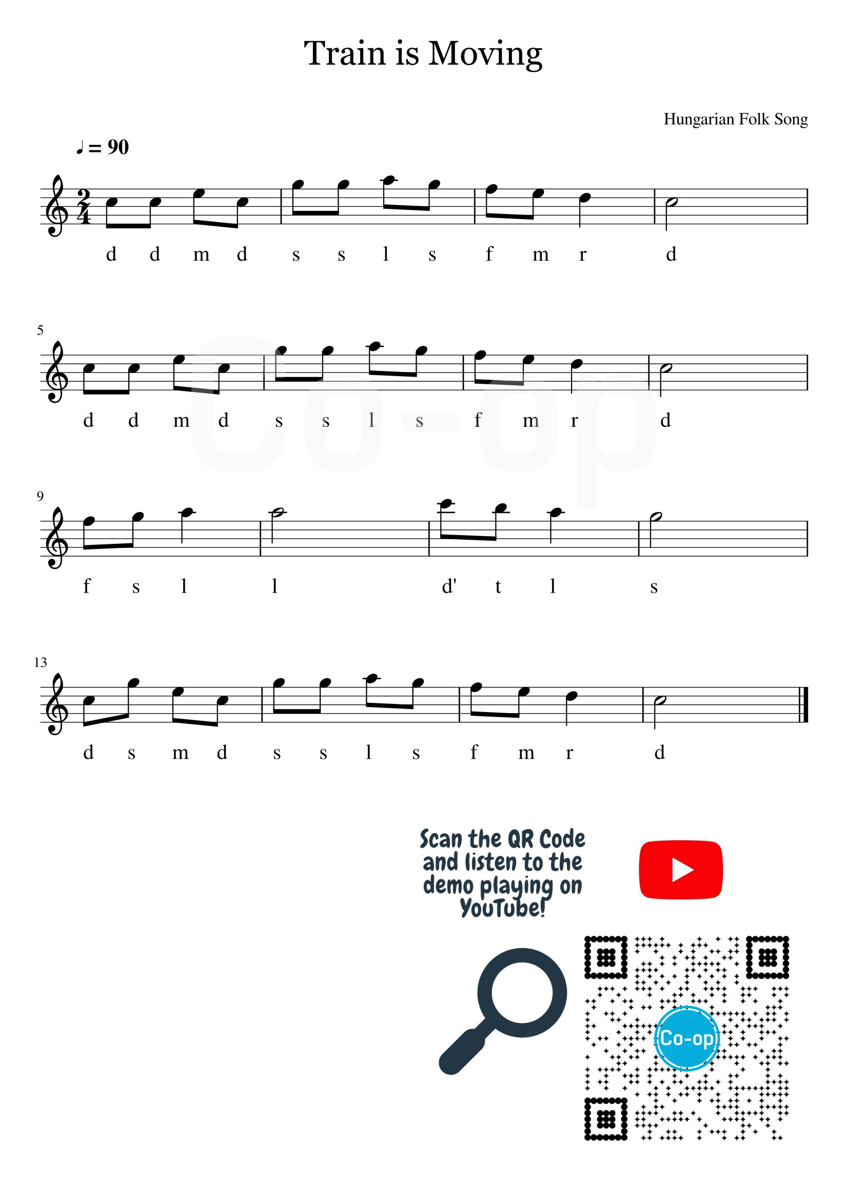 Train is Moving | Solfege Notation | Free Sheet Music