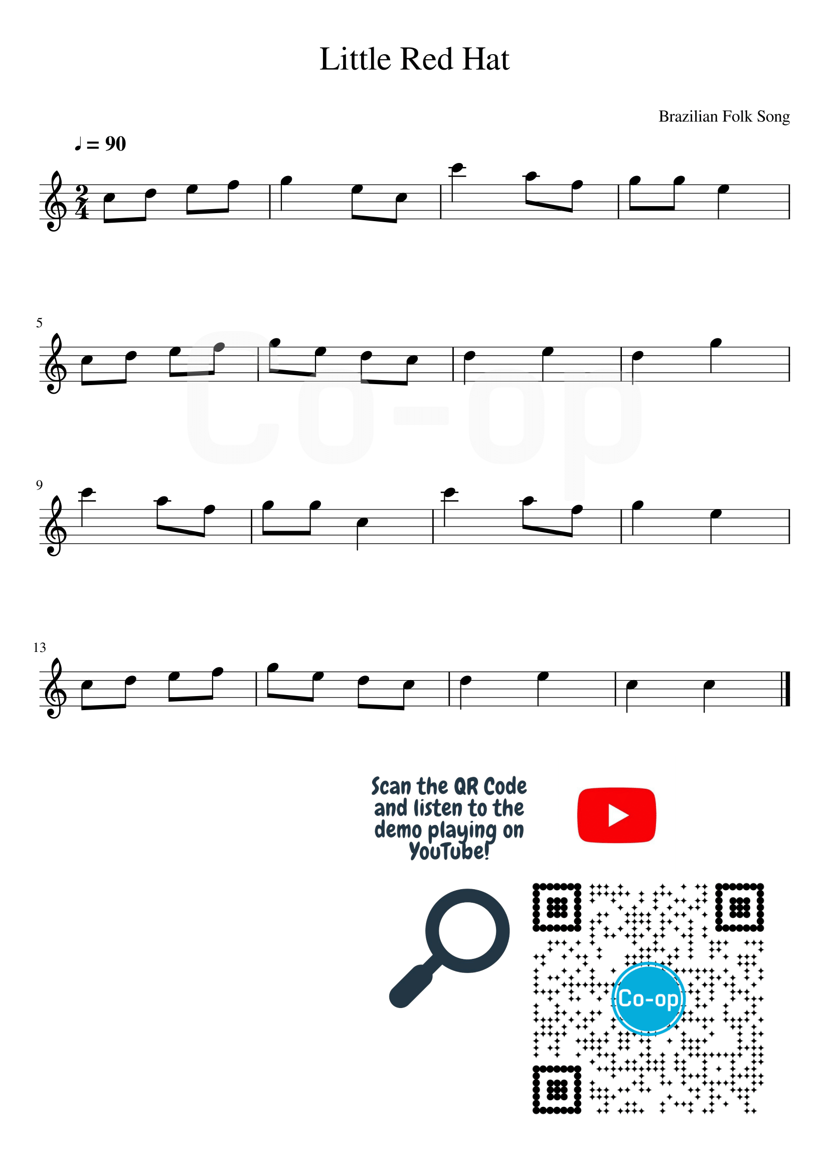 Little Red Hat | Staff Notation | Free Sheet Music