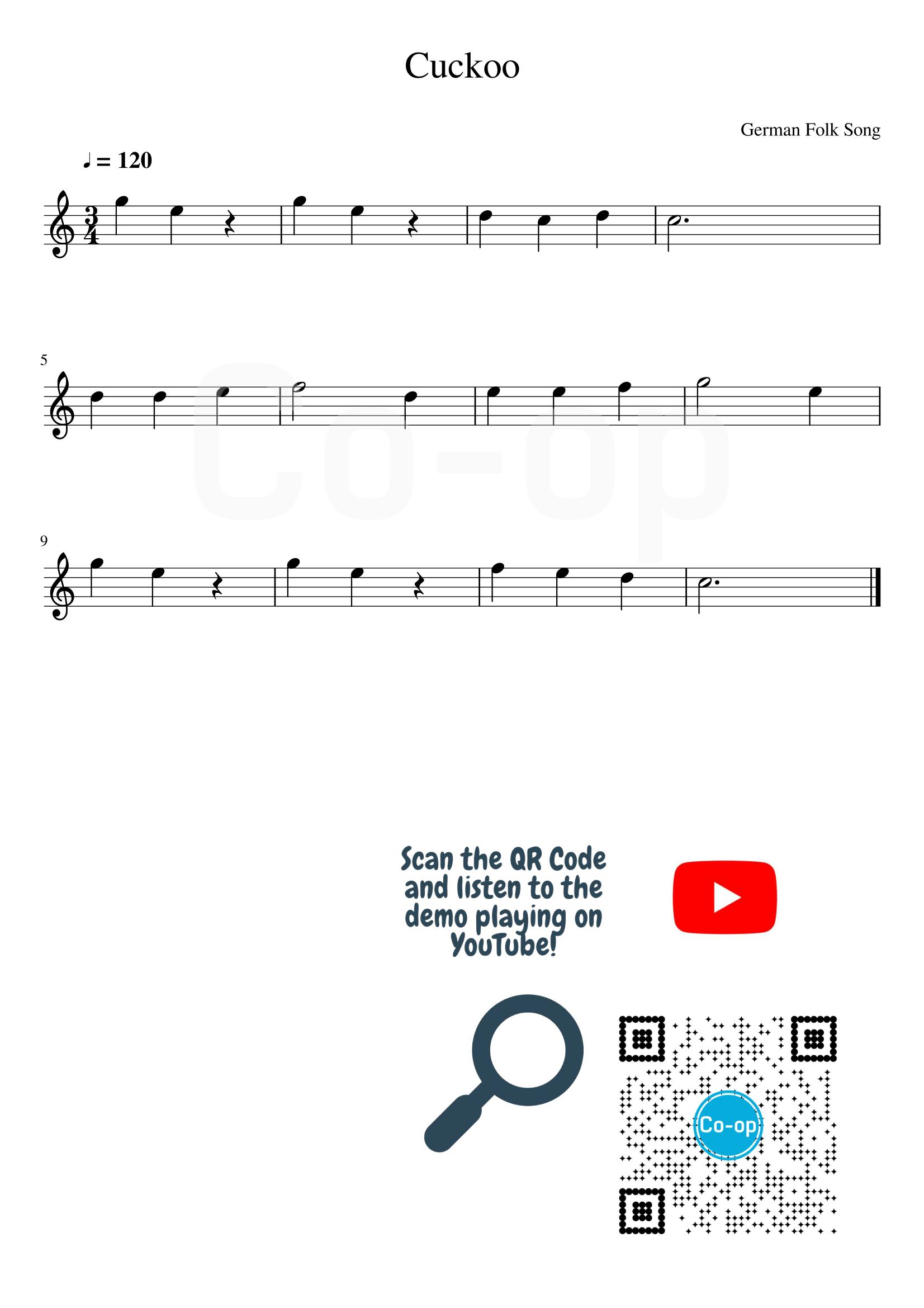 Cuckoo   五線譜   Co-op 口琴學堂