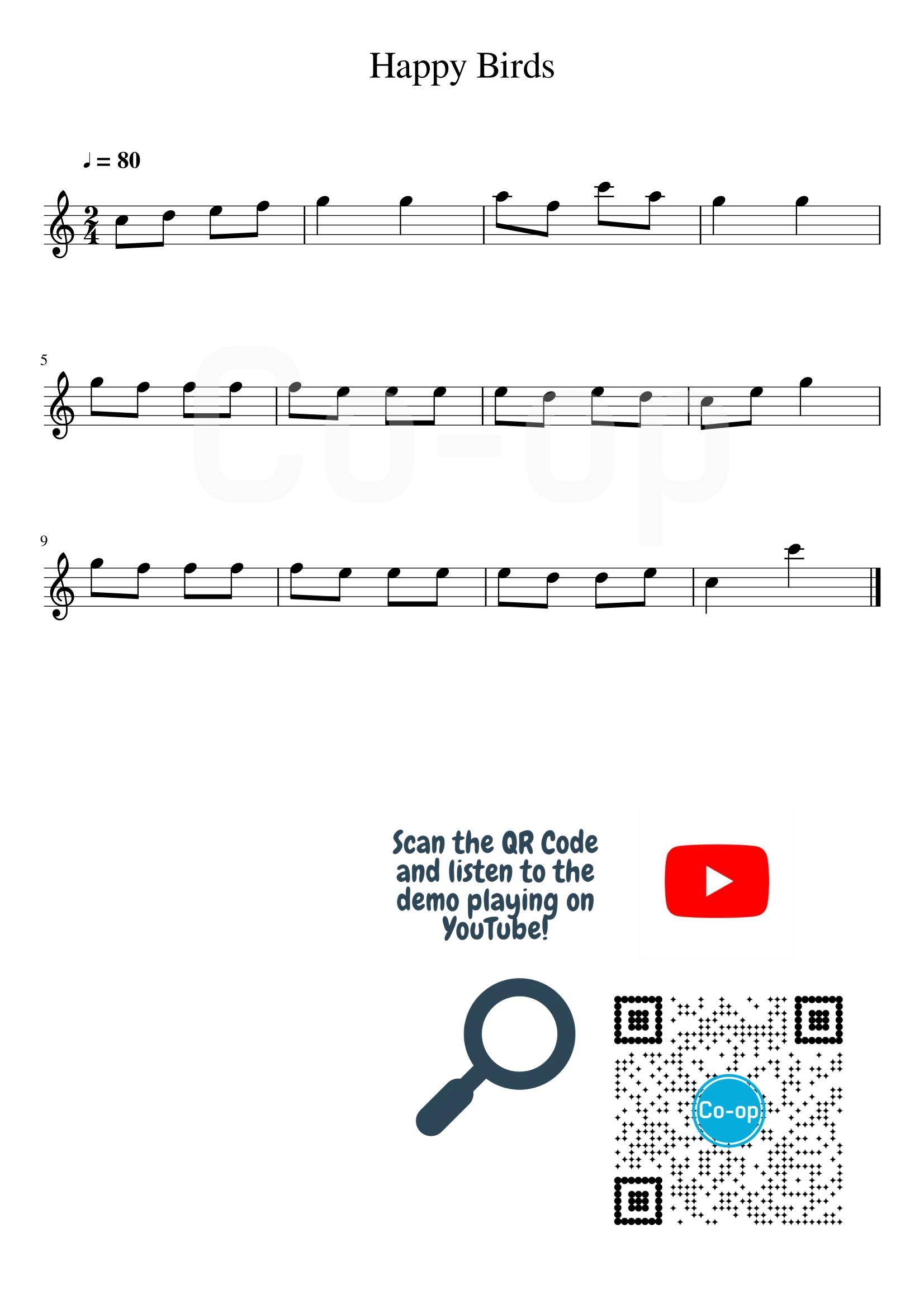 Happy Birds | 五線譜 | Co-op 口琴學堂