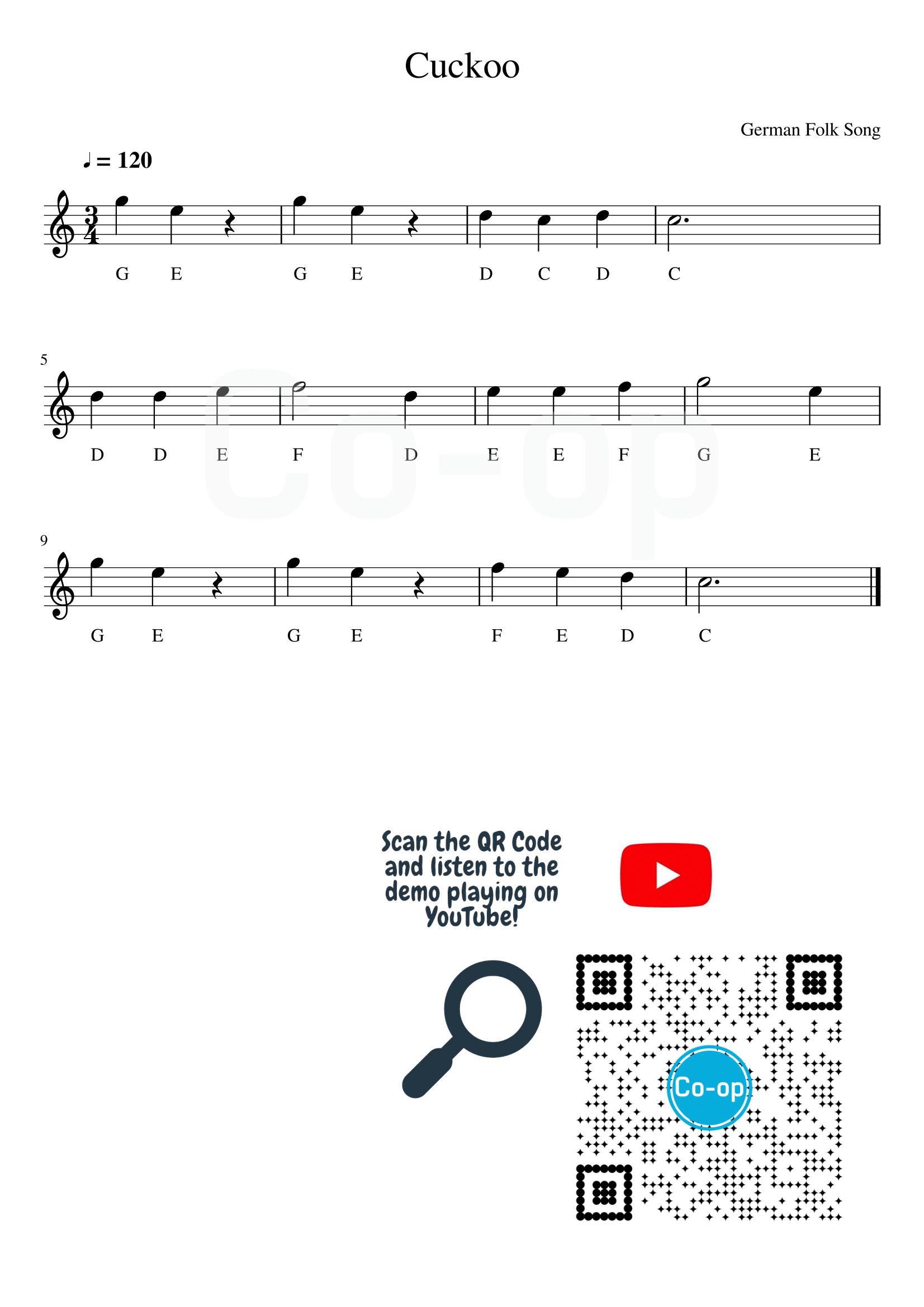 Cuckoo   五線譜連音名   Co-op 口琴學堂