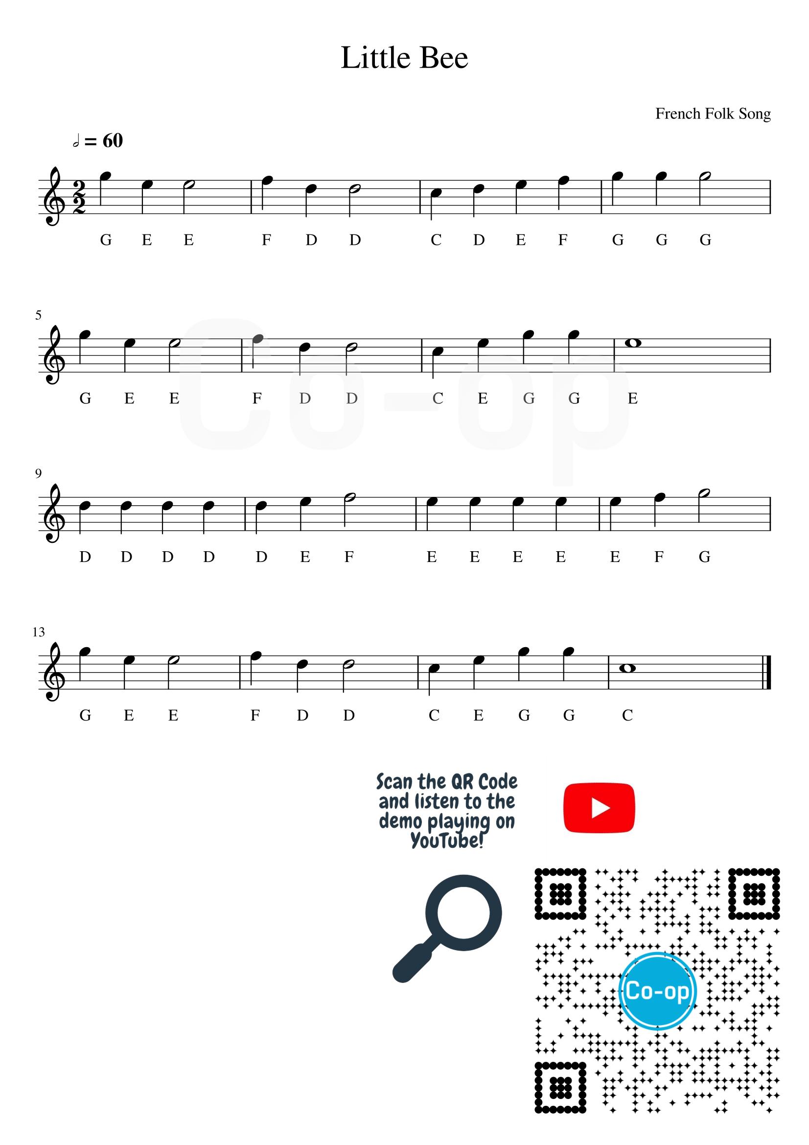 Little Bee   五線譜連音名   Co-op 口琴學堂