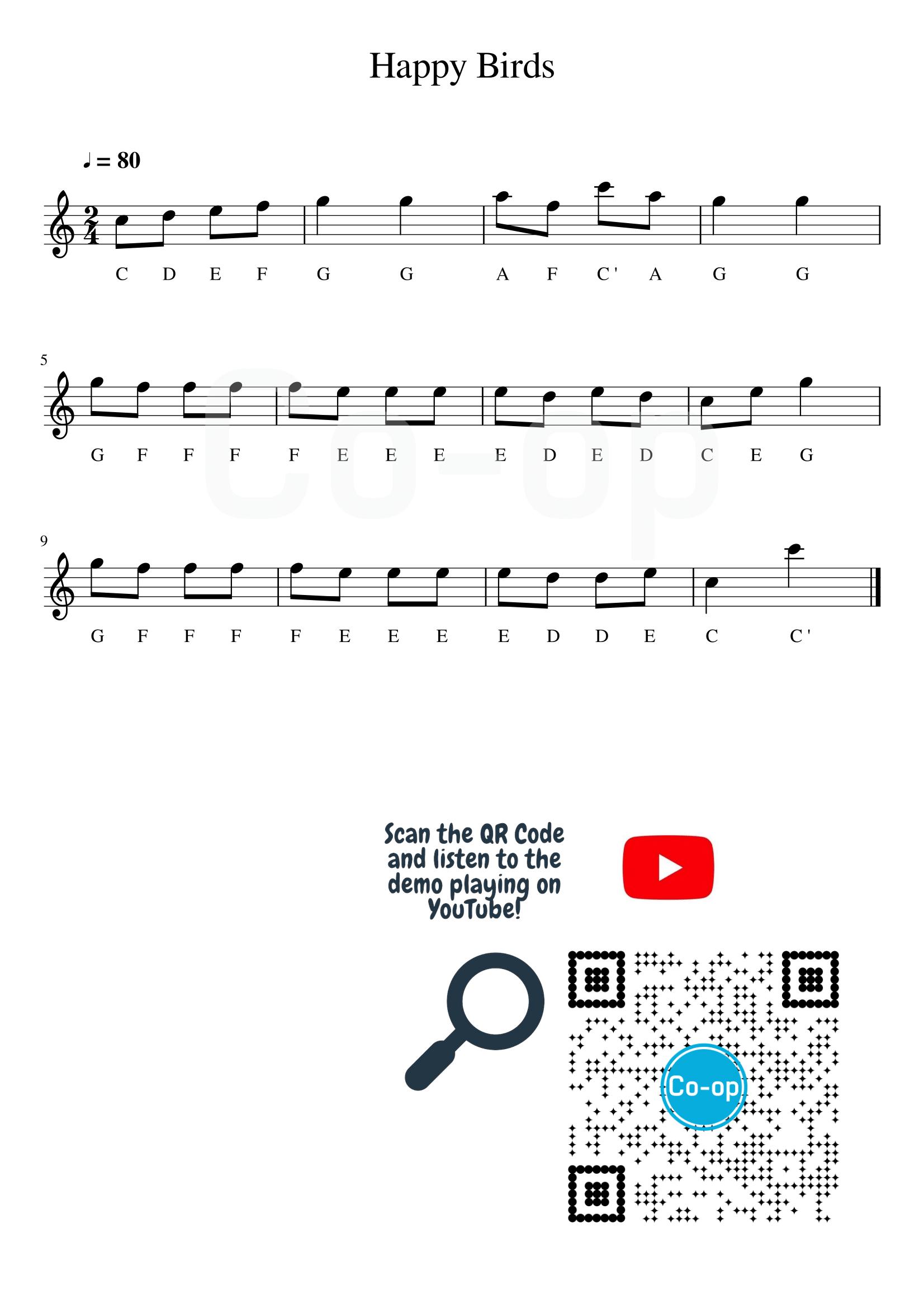 Happy Birds   五線譜連音名   Co-op 口琴學堂