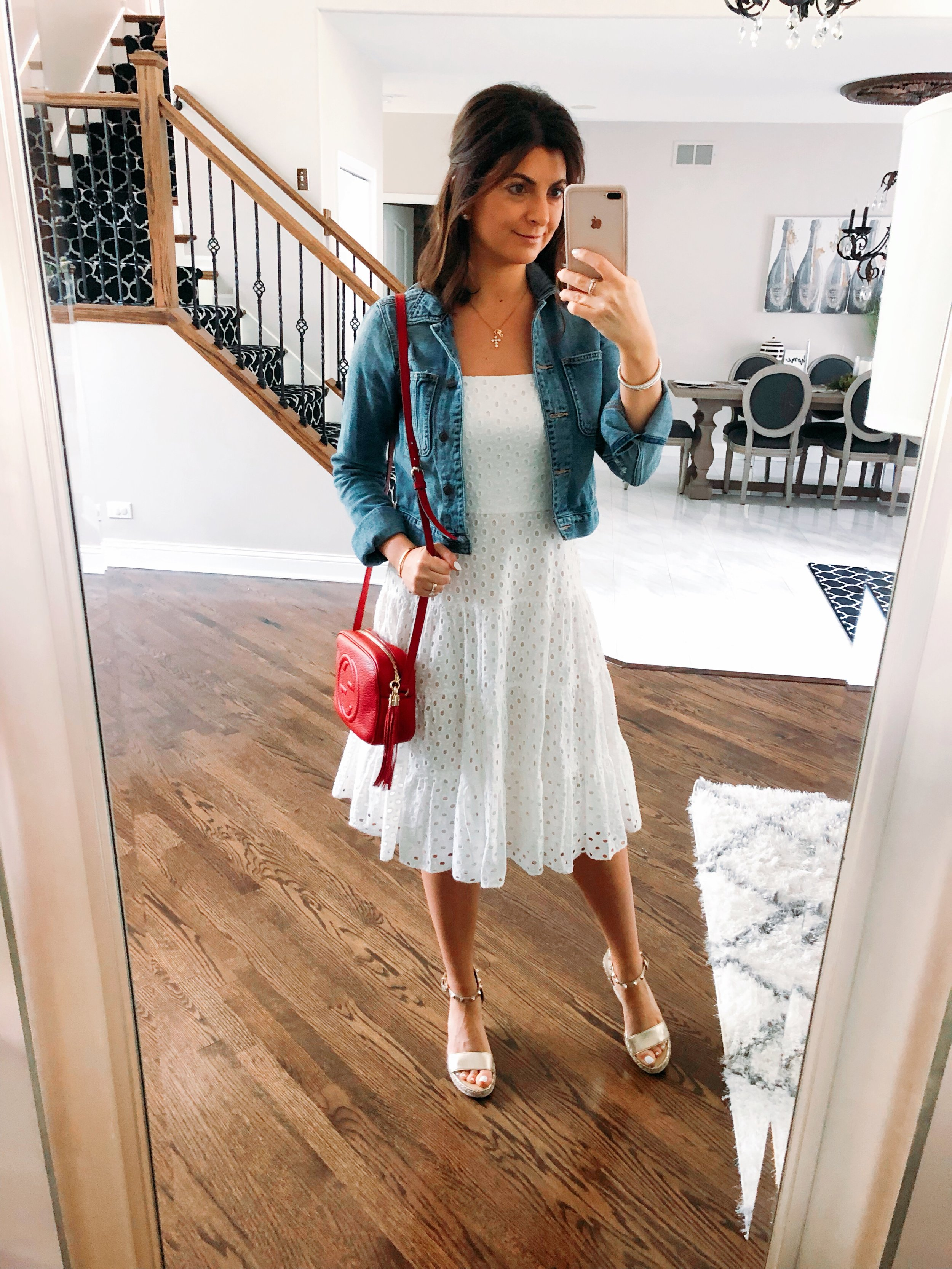 1901 White Eyelet Dress from Nordstrom | Distressed Denim Jacket from Abercrombie | Red Soho Disco Bag from Gucci | Marc Fisher Wedges from DSW