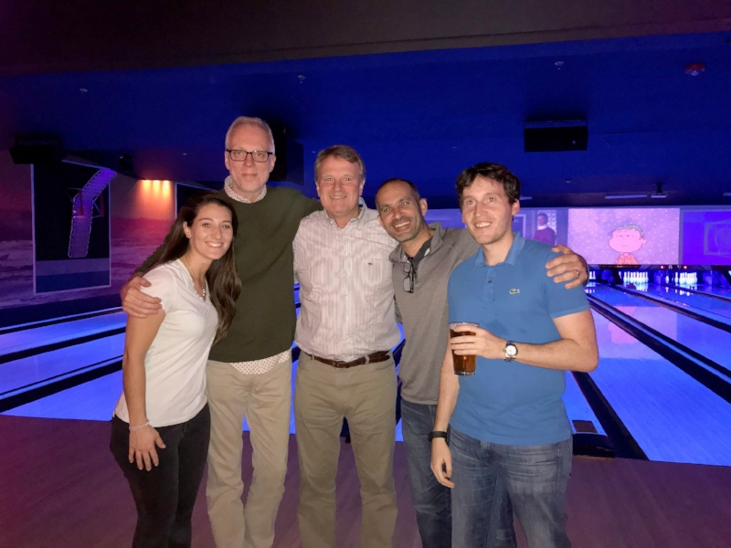 Anna Schmitz, Terrence Burns, Jon Tibbs, Danny Koblin and Andrew Chatzky - 2016 Holiday Party. And somehow, after hours of bowling with friends, I lost this fine green sweater