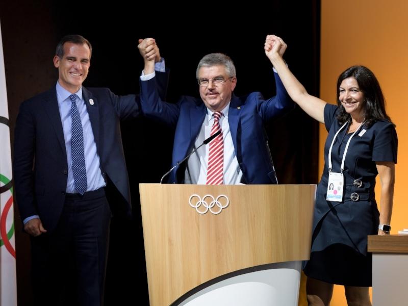 [ Mayor Eric Garcetti, President Thomas Bach, Mary Anne Hildago