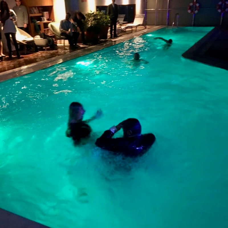 Victory party (yes that's Jacqueline Barrett in the pool)