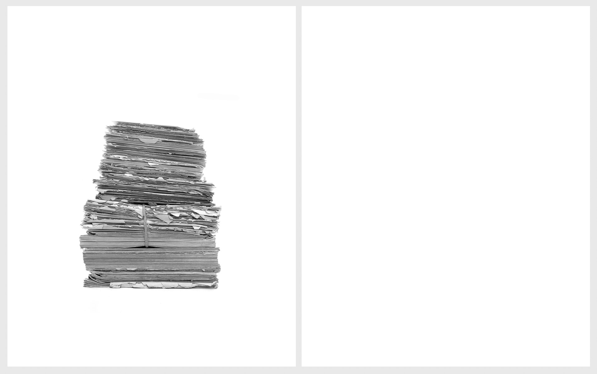 Love Letters   (diptych), 2014 Left:  All the letters she wrote to him  Right:  All the letters he wrote to her  Silver gelatin prints 24 x 20 inches each