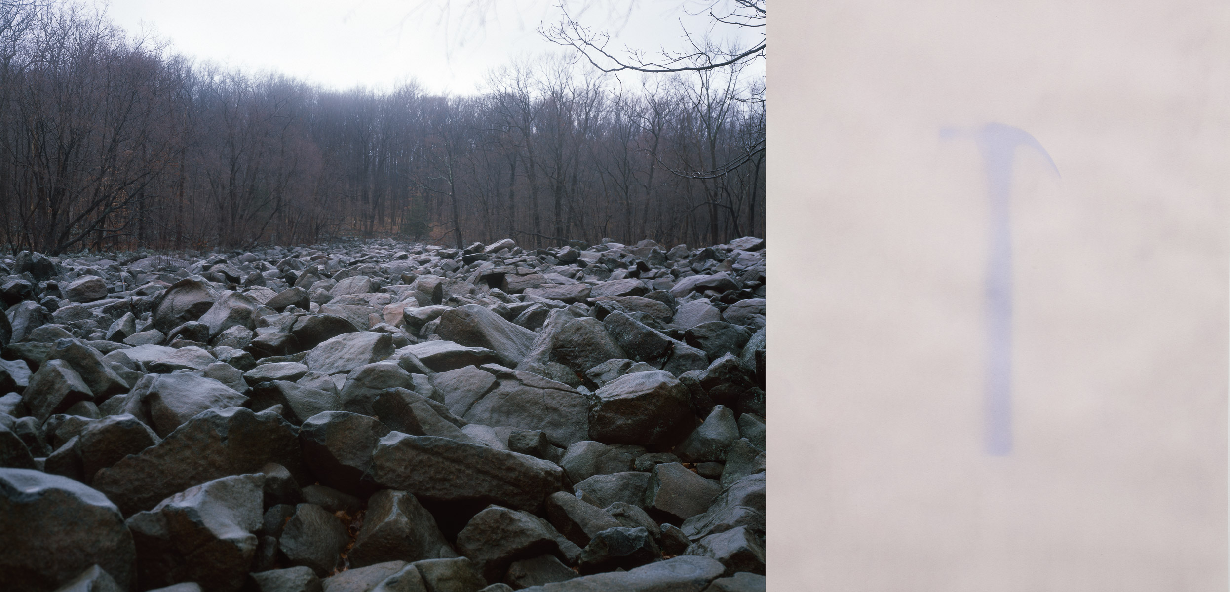 Ringing Rocks   (diptych), 2014 Left: Ringing Rocks Inkjet print 23 x 30 inches Right: Hammer Anthotype 23 x 18 inches Ed: 3 + 2AP