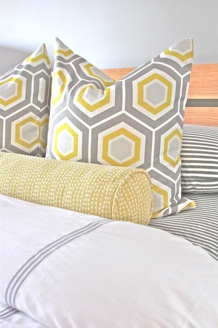 Dayka Robinson Color Mix Pattern Play Yellow Gray Hexagon Stripes Bedding.jpg