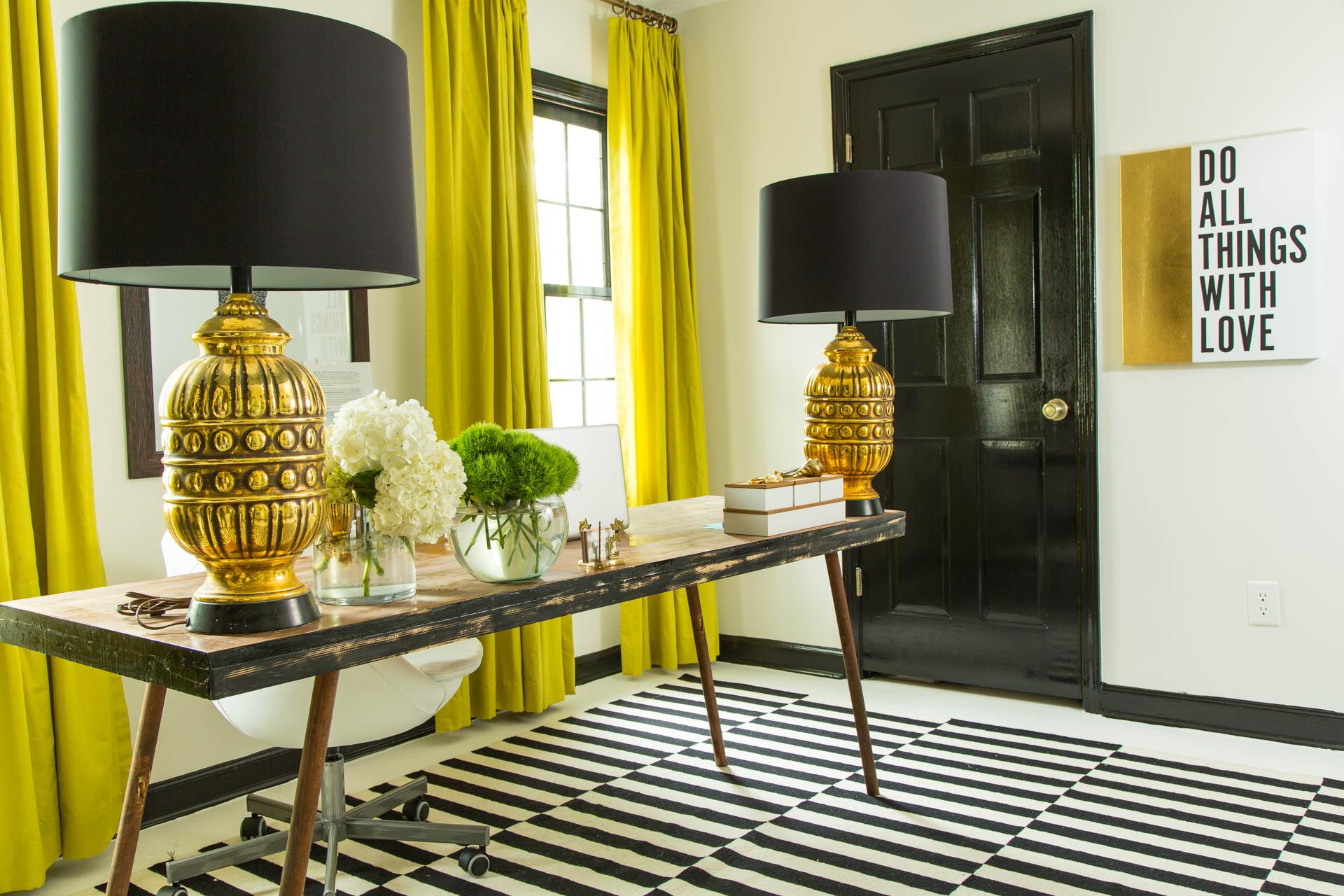 Dayka Robinson Designs Home  Black & White Office Makeover horizontal black trim