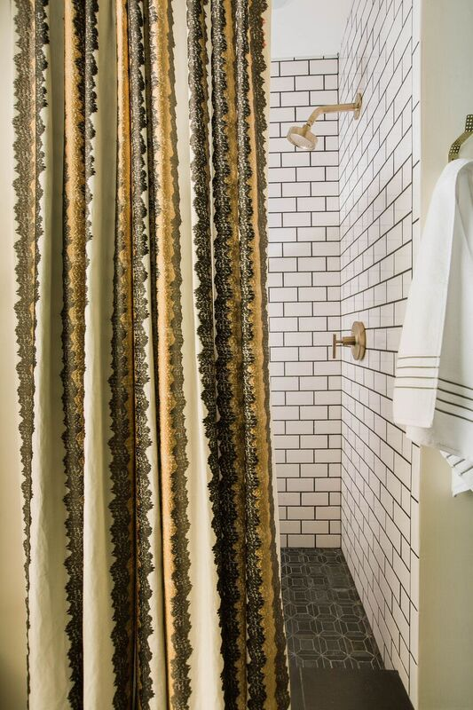 Dayka Robinson Brookside Oak Master Bathroom Renovation Robert Allen Wavy Stitch Subway tile shower Kohler Brass