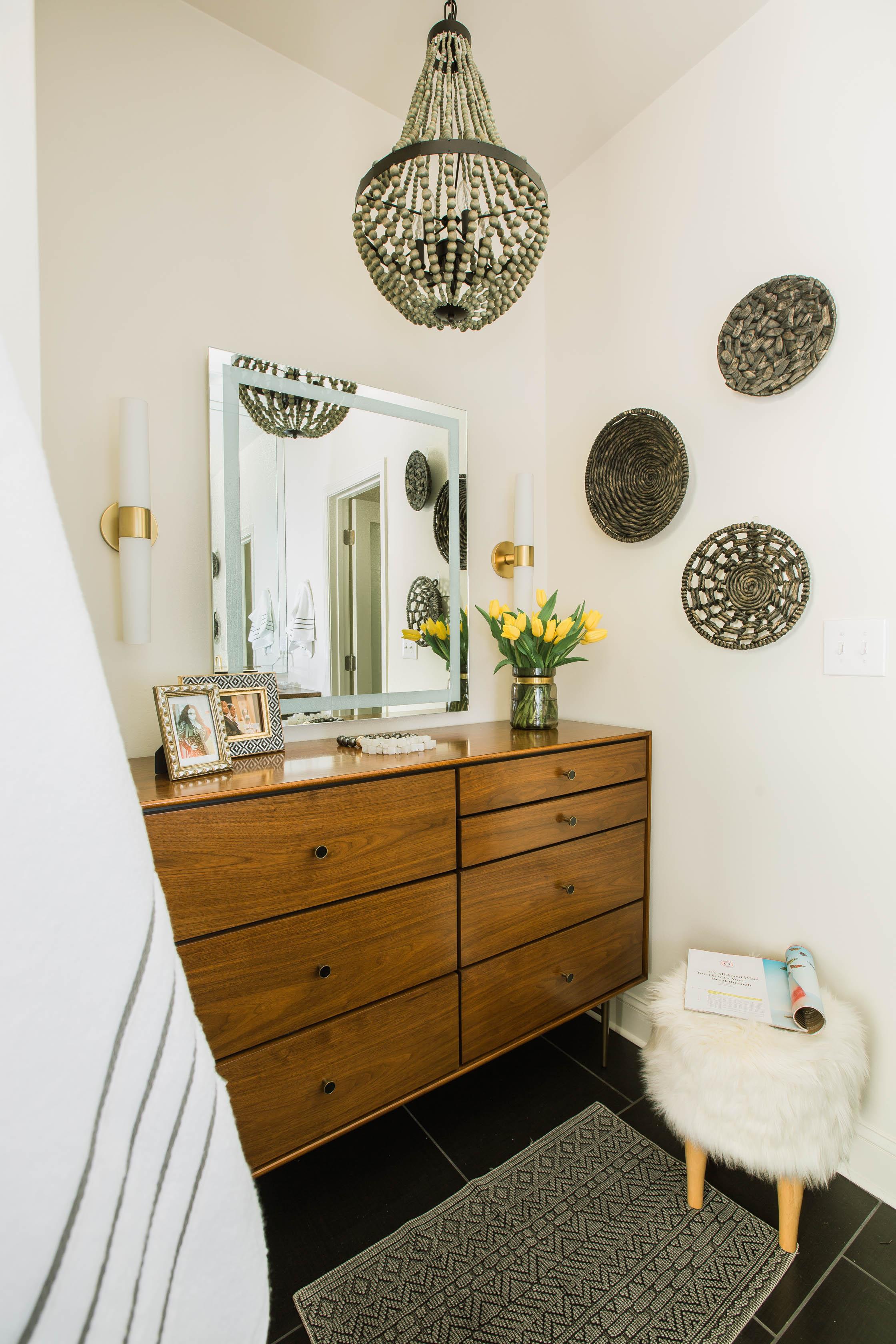 Dayka Robinson Brookside Oak Master Bathroom Renovation Robert Allen Wavy Stitch West Elm Heston Dresser Subway Tile Brass Kohler 11:2015
