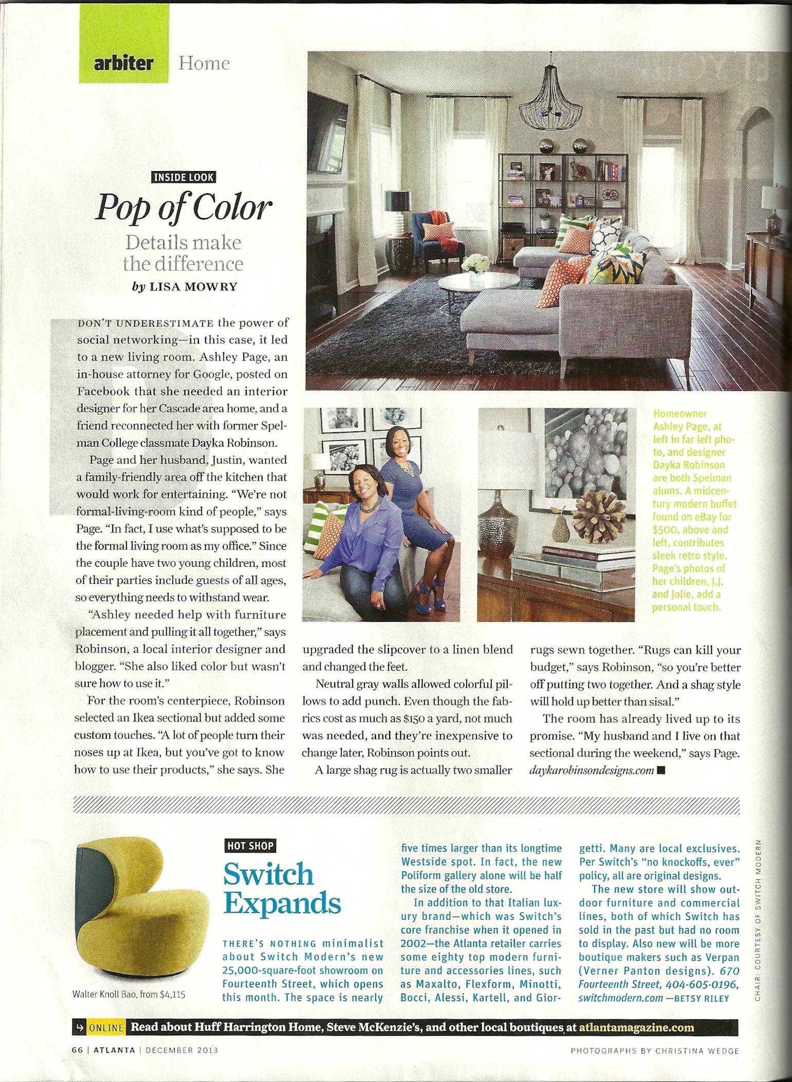 Dayka Robinson Atlanta Magazine press, Dec 2013.jpg