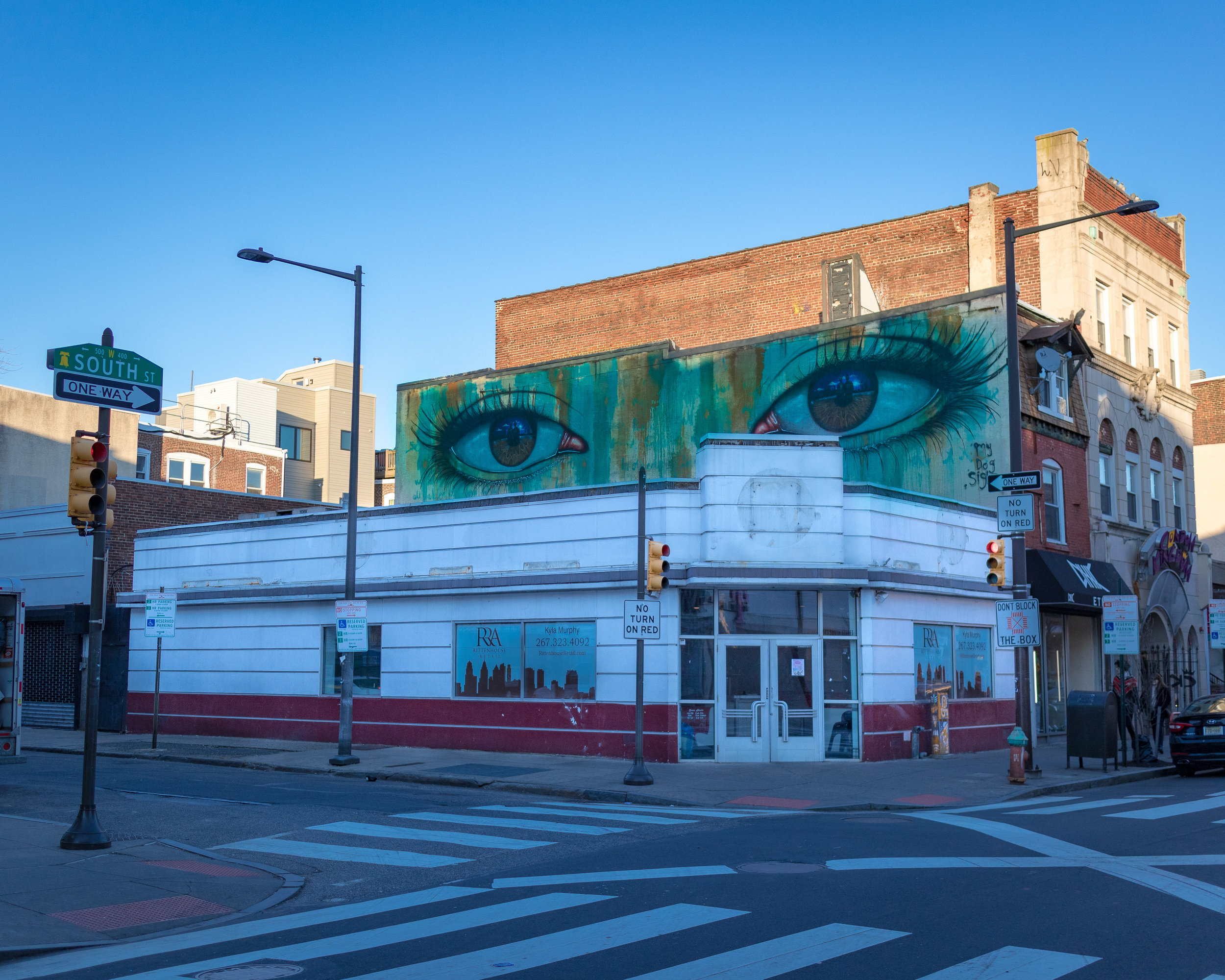 Eyes mural above the  defunct  Johnny Rockets, 5th and South Streets, Philadelphia. Mural by British  street artist   My Dog Sighs . Photo by Ari Halbkram.