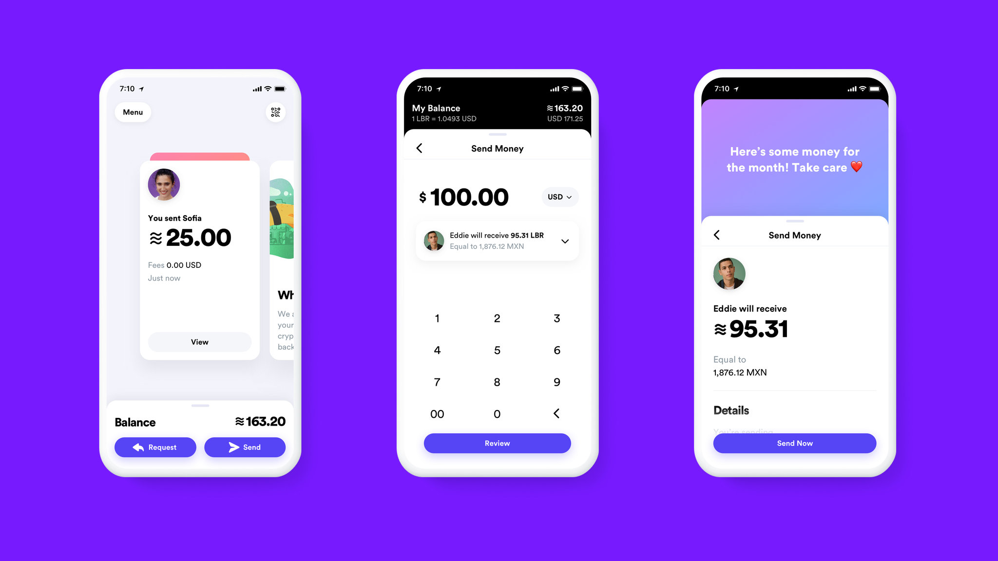 A proposed look for a mobile app for handling the new cryptocurrency. Credit: Calibra