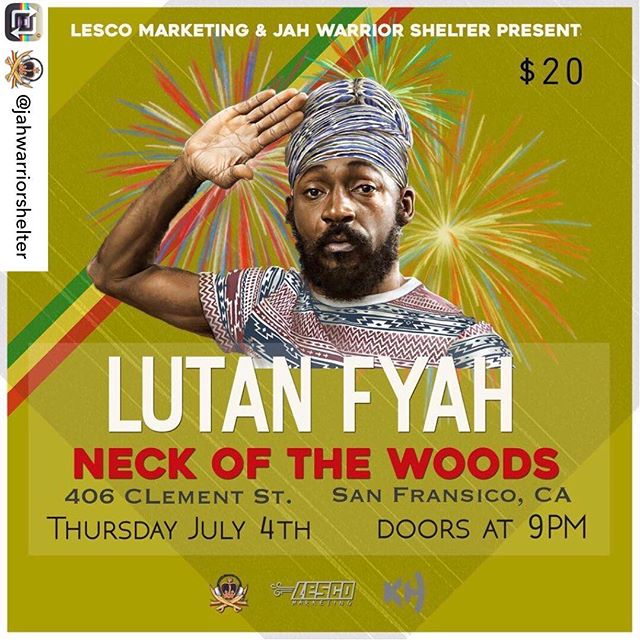 THIS THURSDAY @LutanFyahMusic LIVE 4th of July💥💥💥at Neck of the Woods (406 Clement St. #SanFrancisco). Music by #JahWarriorShelter 10pm-2am • 21 & up #Reggae #music #sf #love #intelligentRebellion