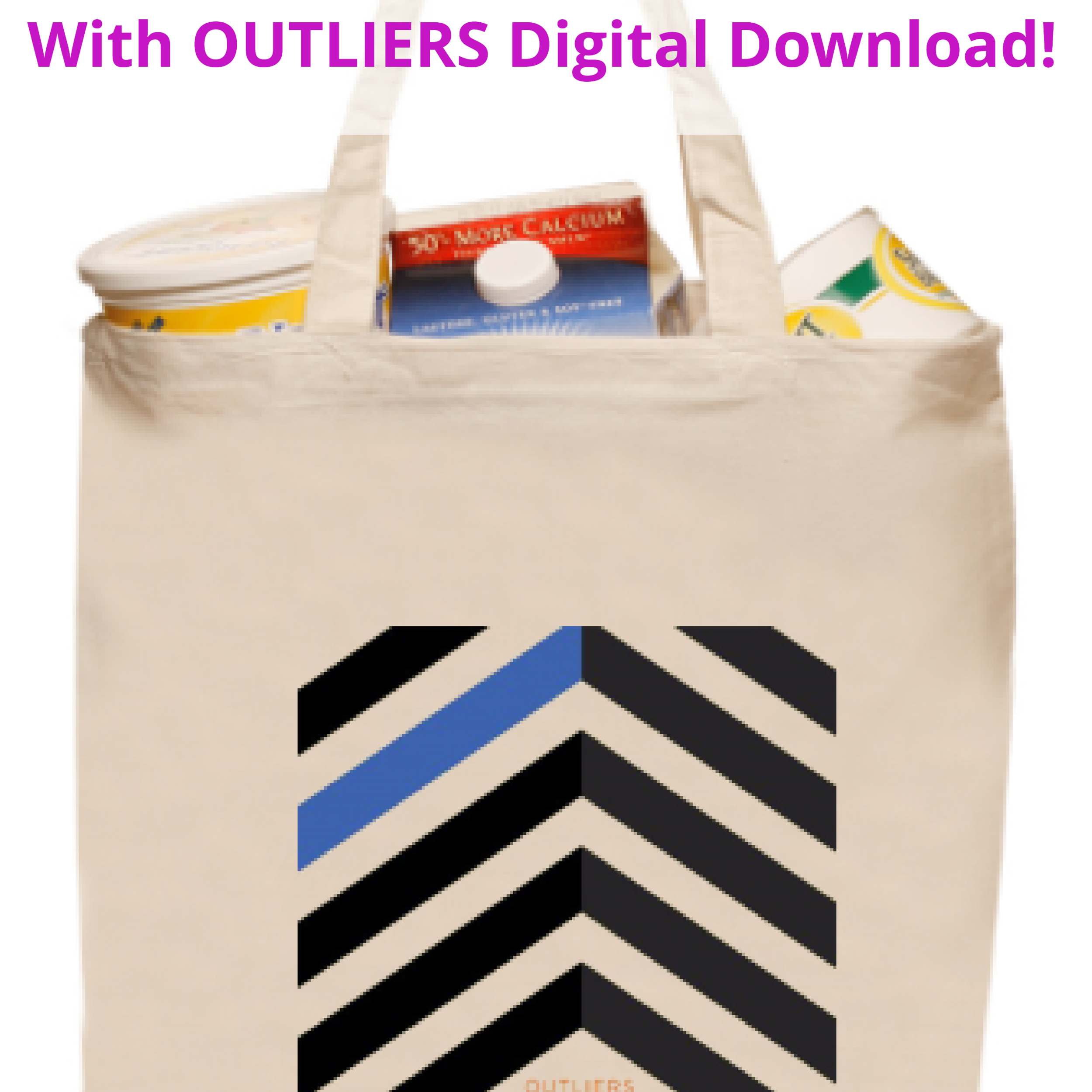 <b>OUTLIERS</b><br><small>Tote-bag + OUTLIERS Full Digital Download<br></small><b>$25</b>