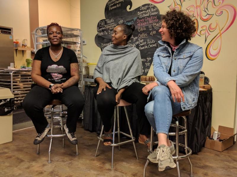 April Anderson (left), Devita Davison (center), Julia Turshen (right)