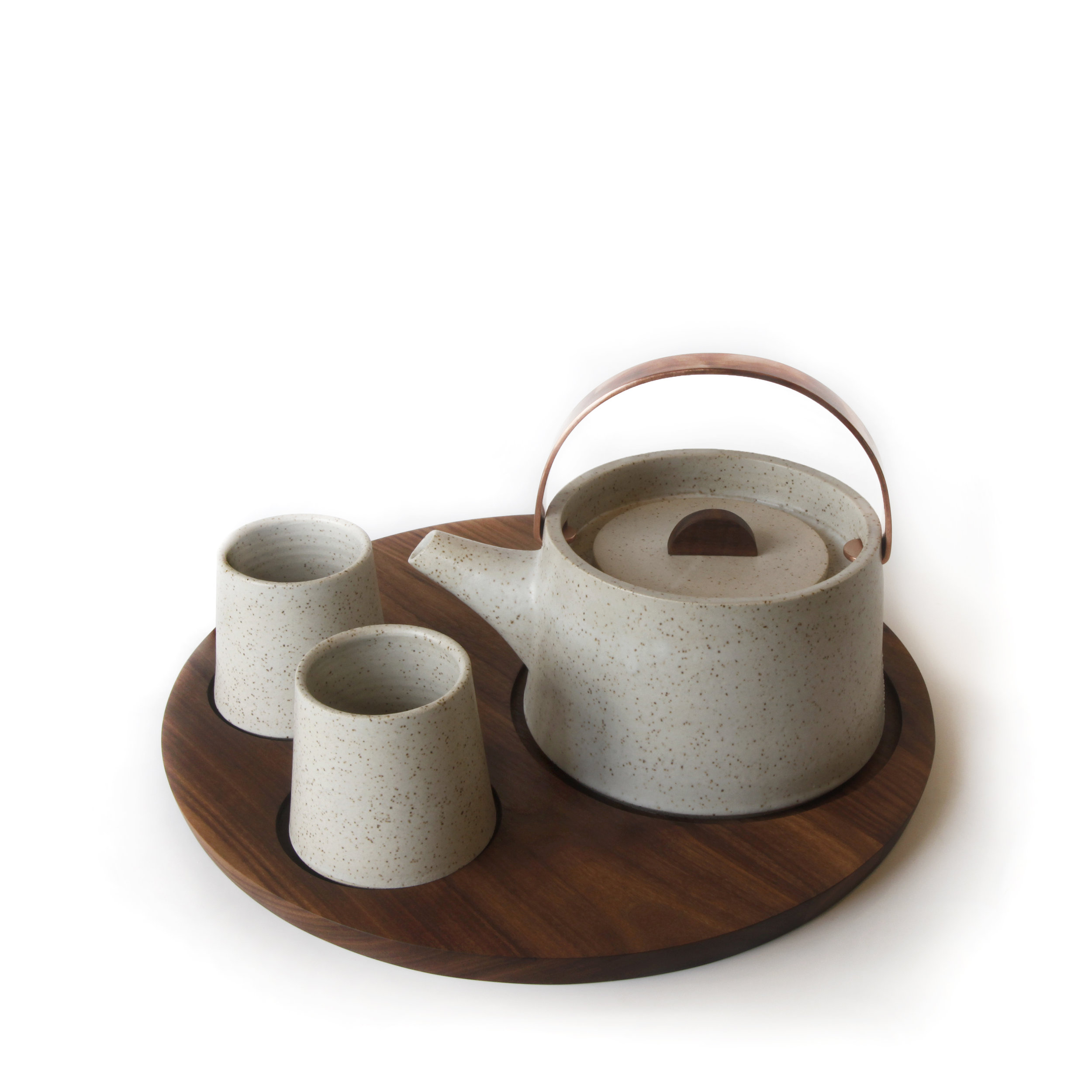 Speckled Stoneware teapot and cups, Black Walnut serving tray and knob, Copper handle, 2018