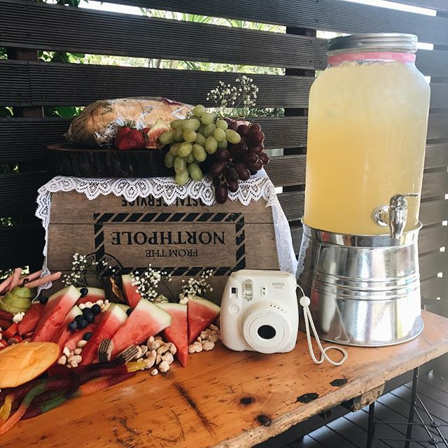 Optional Extras - We offer extras that you can hire with any grazing table.Polaroid Camera hire:$35 for 10 film$55 for 20 filmJug Hire $35 each filled with a non alcoholic punch and diced fruits.Large vintage blackboard on easel with personalised message. Great for weddings and baby showers, $75 (photo coming soon)