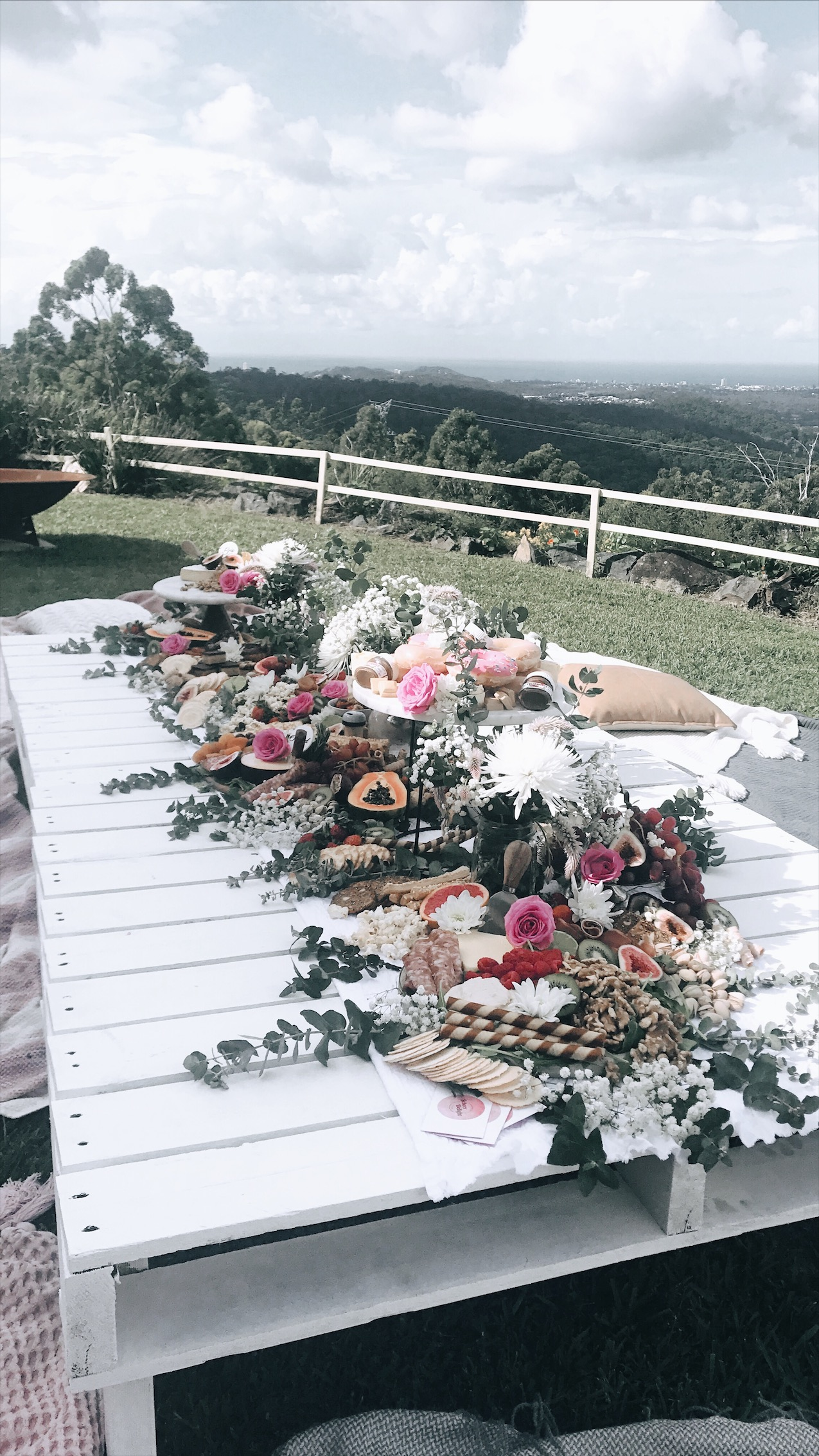 Baby Shower / Hens Party Package - Enjoy our picnic hire and a platter for you and the girls, catering for approx. 25 people, this includes set up, cushions, rugs, throws, pallet tables, cutlery, greenery and flowers along with any hire props. Starting from $550 *fee may incur for delivery