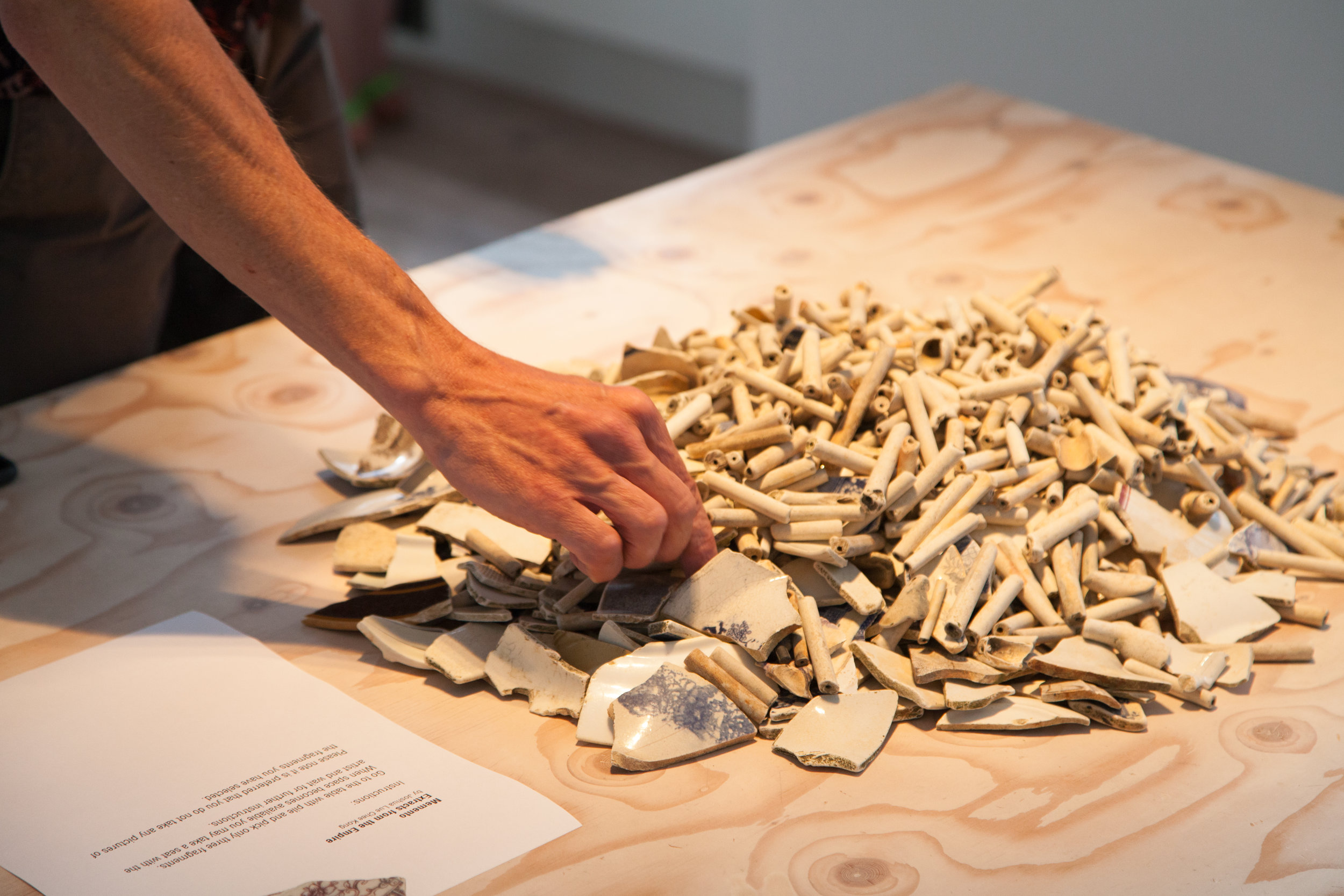 Ceramic shards and pieces of clay pipes, Delfina Foundation, Victoria, London, 2017. Photo: Christian Lübbert