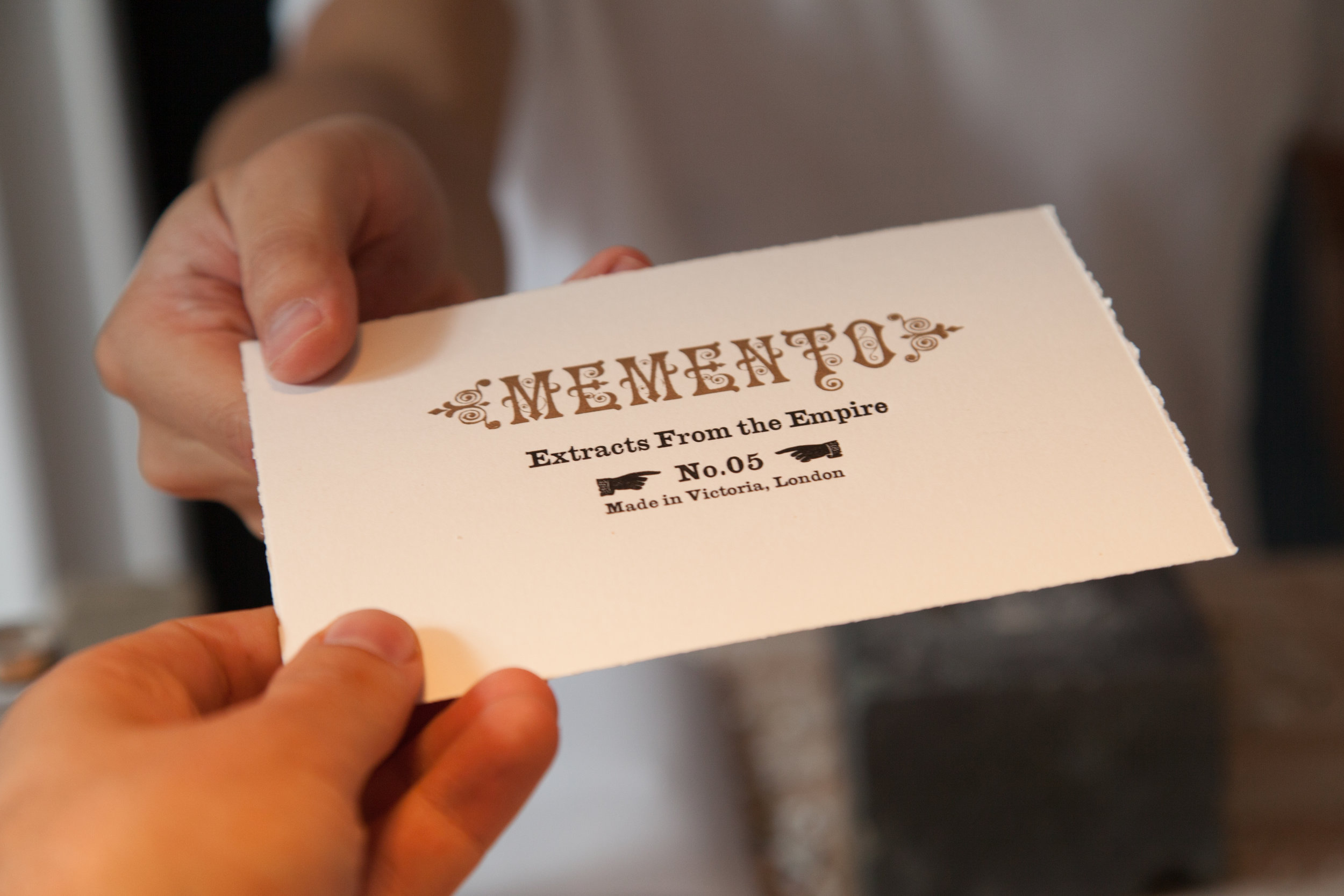 Memento letterpressed proof of authenticity, Delfina Foundation, Victoria, London, 2017. Photo: Christian Lübbert