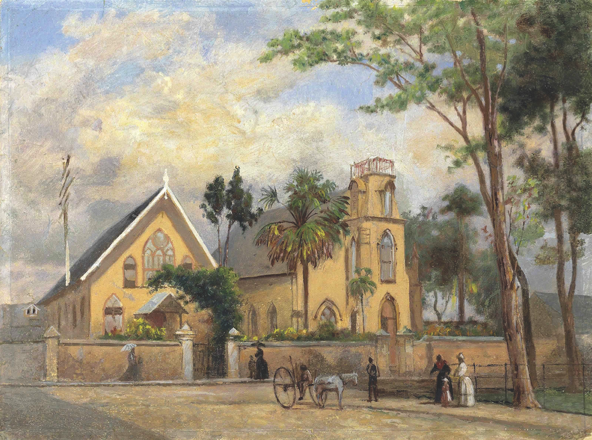 Watercolor artwork of Greyfriars Church by Michel Jean Cazabon in the later half of the 19th century