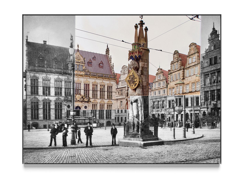 Caspar Sessler Arbeit »Roland 0015, 2015« zeigt eine fotografische Collage mit einer historischen Ansicht des Bremer Roland