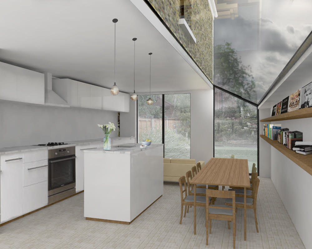 Rendered image of the proposed interior
