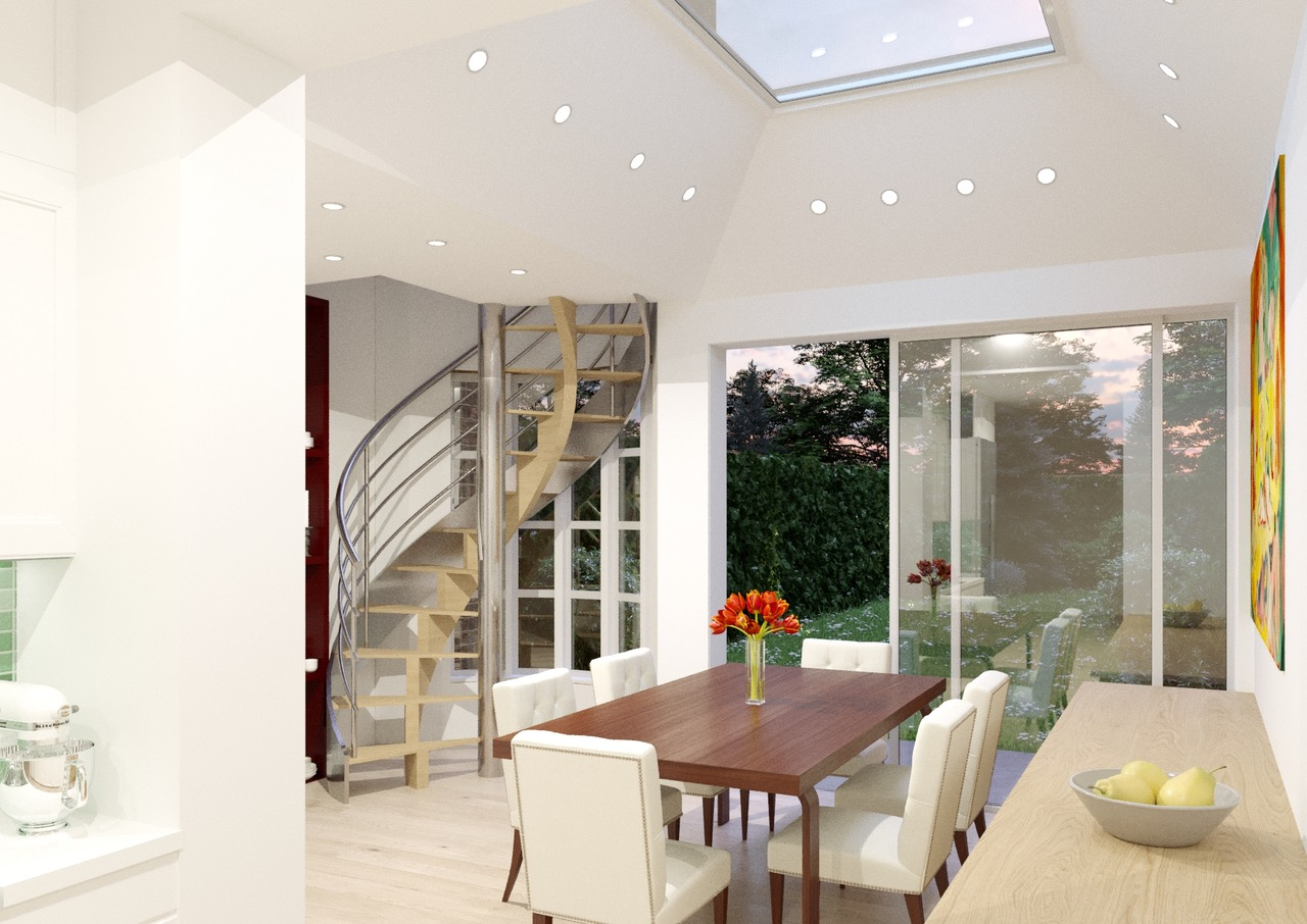 Render of kitchen extension for 6 Park View - London.