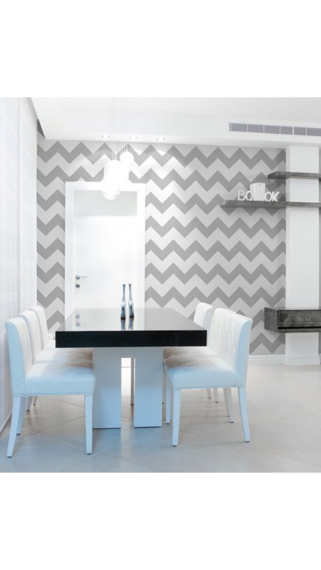 Here we go with the chevron again- I think they gray it subtle. Also, making it an accent wall adds character without going overboard and makes for an easier replacement!
