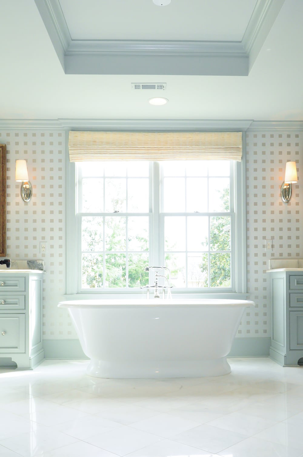 A freestanding tub with Rohl tub filler