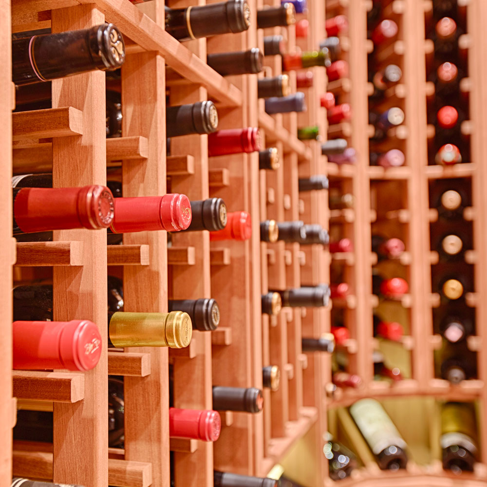 The wine racks in this cellar are designed to last a lifetime in the cool, damp environment.