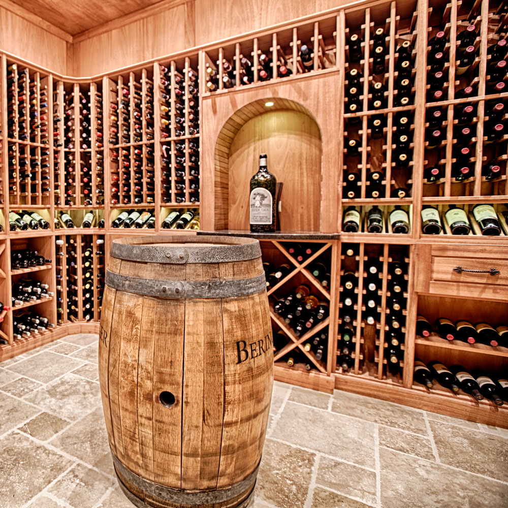 The wine racking system is from Kessick Wine Cellars and is constructed using Sapele Mahogany.