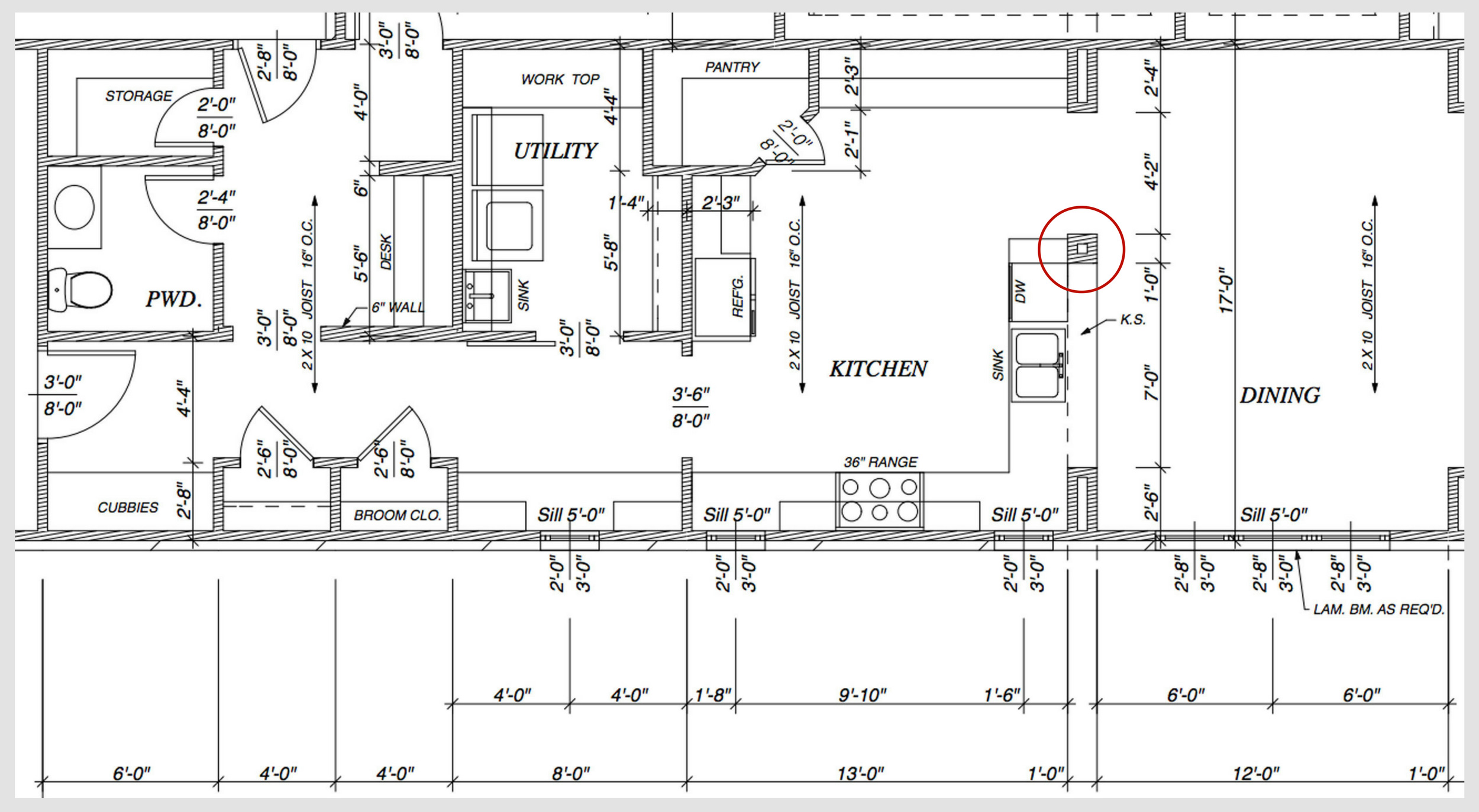 Customization included the removal of a column– marked in red on the floor plan. This change expanded sight lines and opened the space.