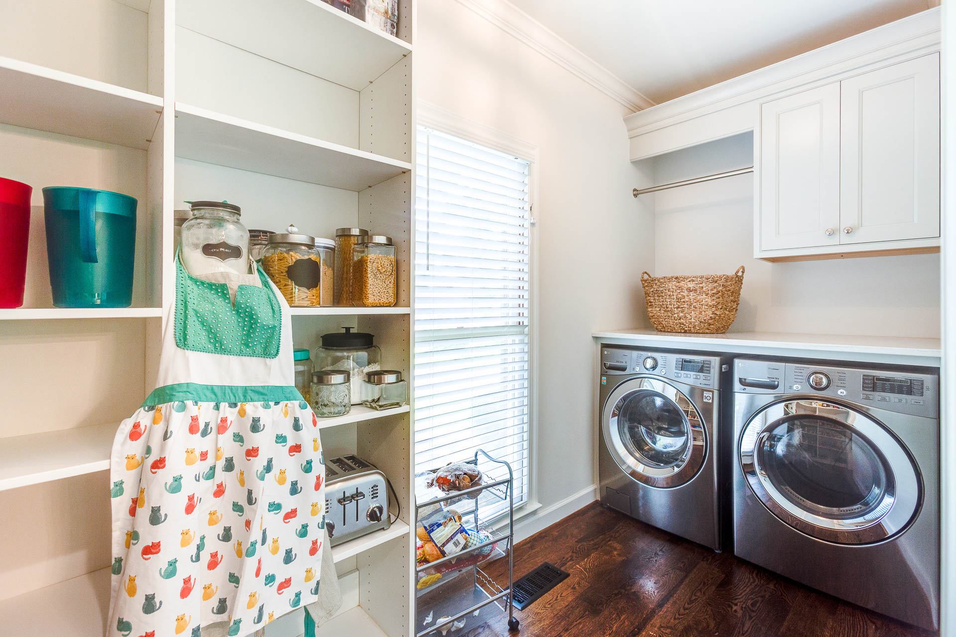 The laundry was relocated from the basement to the pantry.