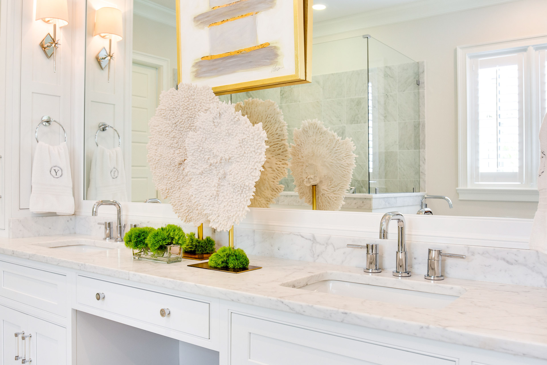 The lucite drawer pulls are from Restoration Hardware.