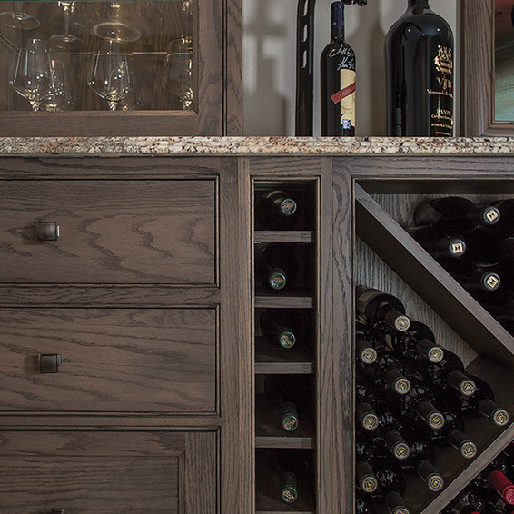 Dark Oak  Cabinets - Image Courtesy of Shiloh Cabinetry
